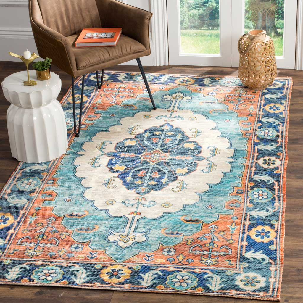 Well-liked Saffron Blue/Coral Area Rug - FROY RT63
