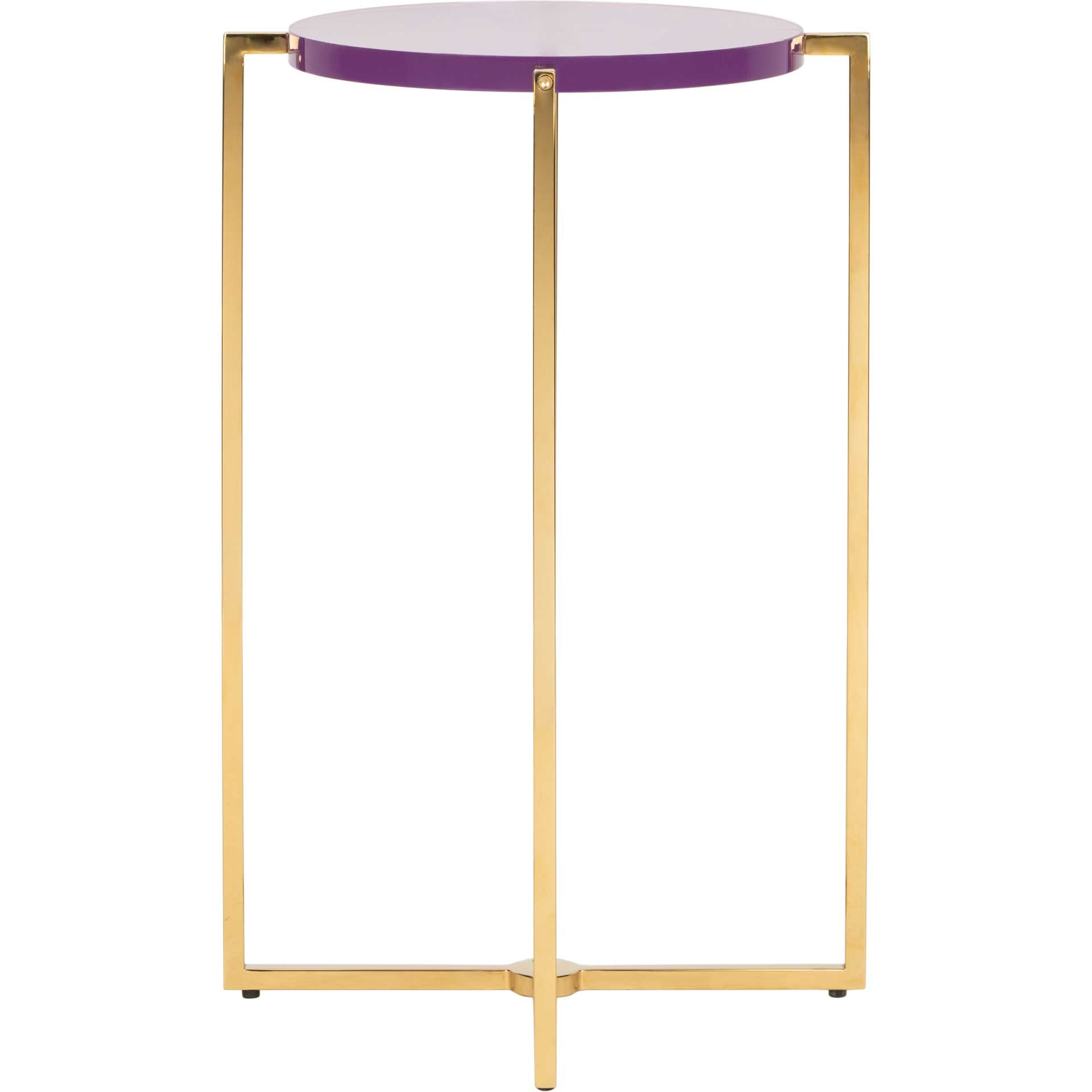 Placido Tall Round Acrylic End Table Amethyst/Gold