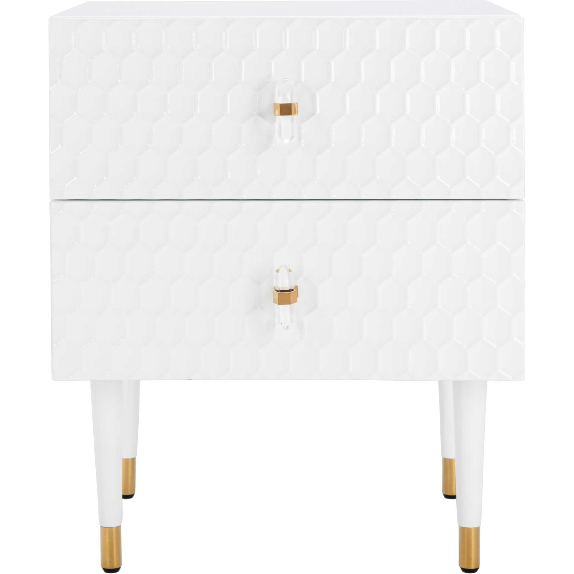 Nevaeh 2 Drawer Side Table White/Gold