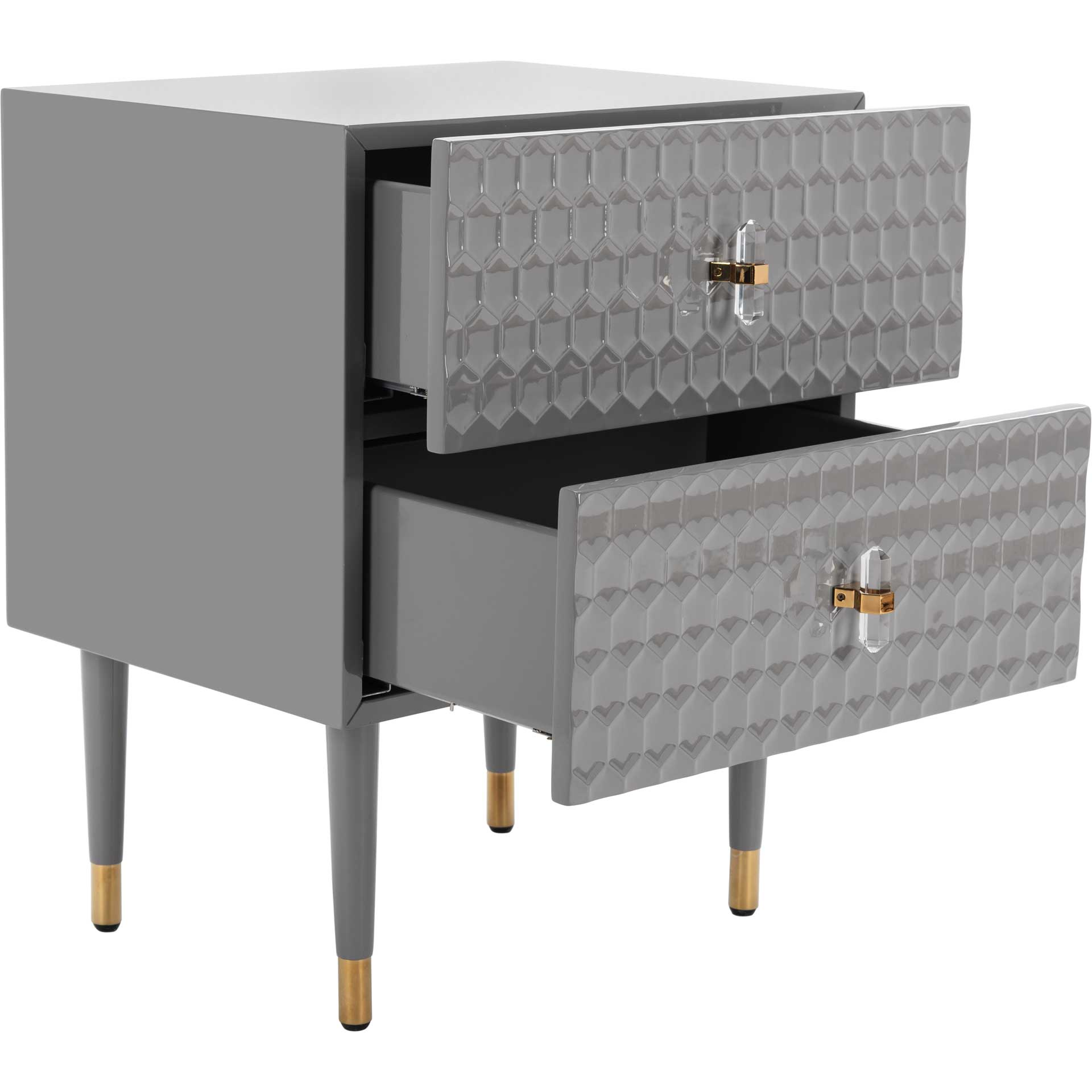 Nevaeh 2 Drawer Side Table Gray/Gold