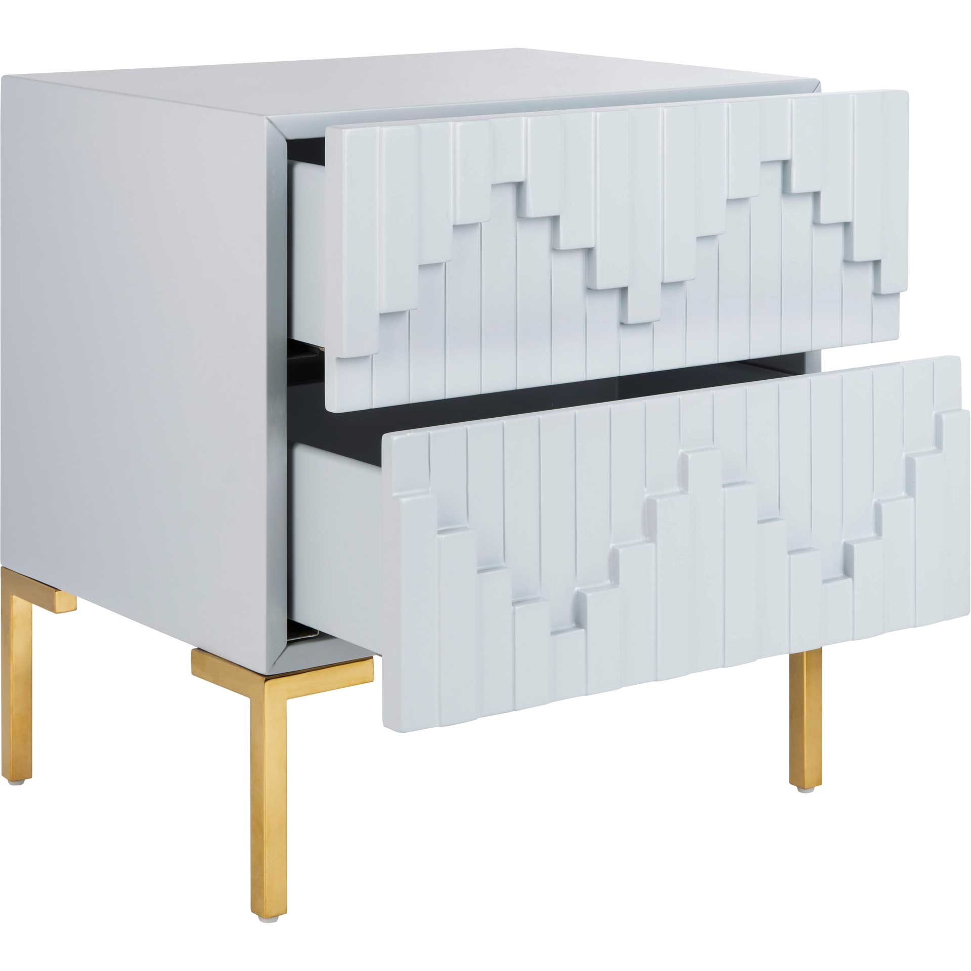 Alana Zigzag Side Table Gray/Gold