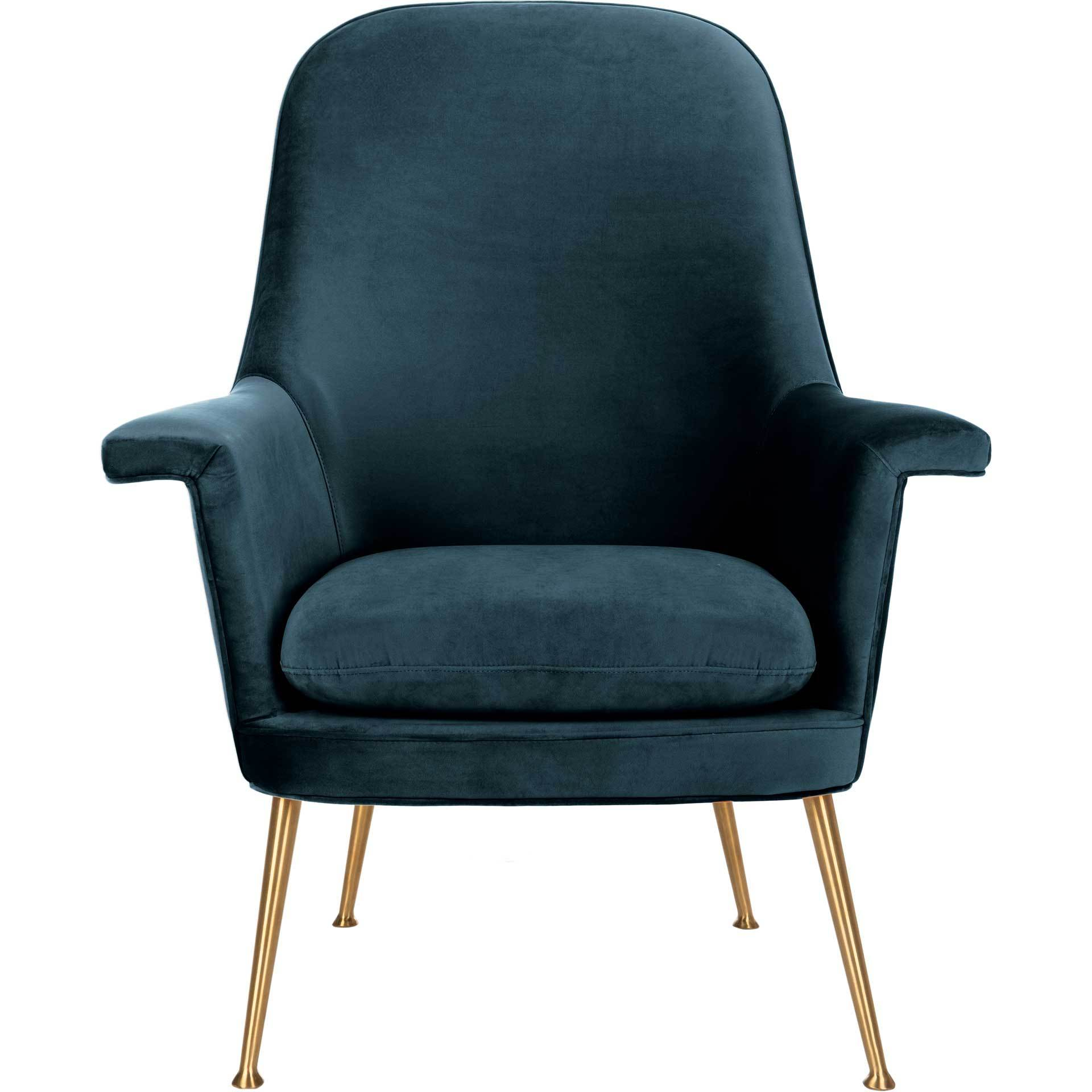 Aidan Velvet Arm Chair Navy/Gold