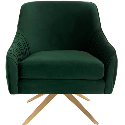 Titus Pleated Arm Chair Emerald/Gold