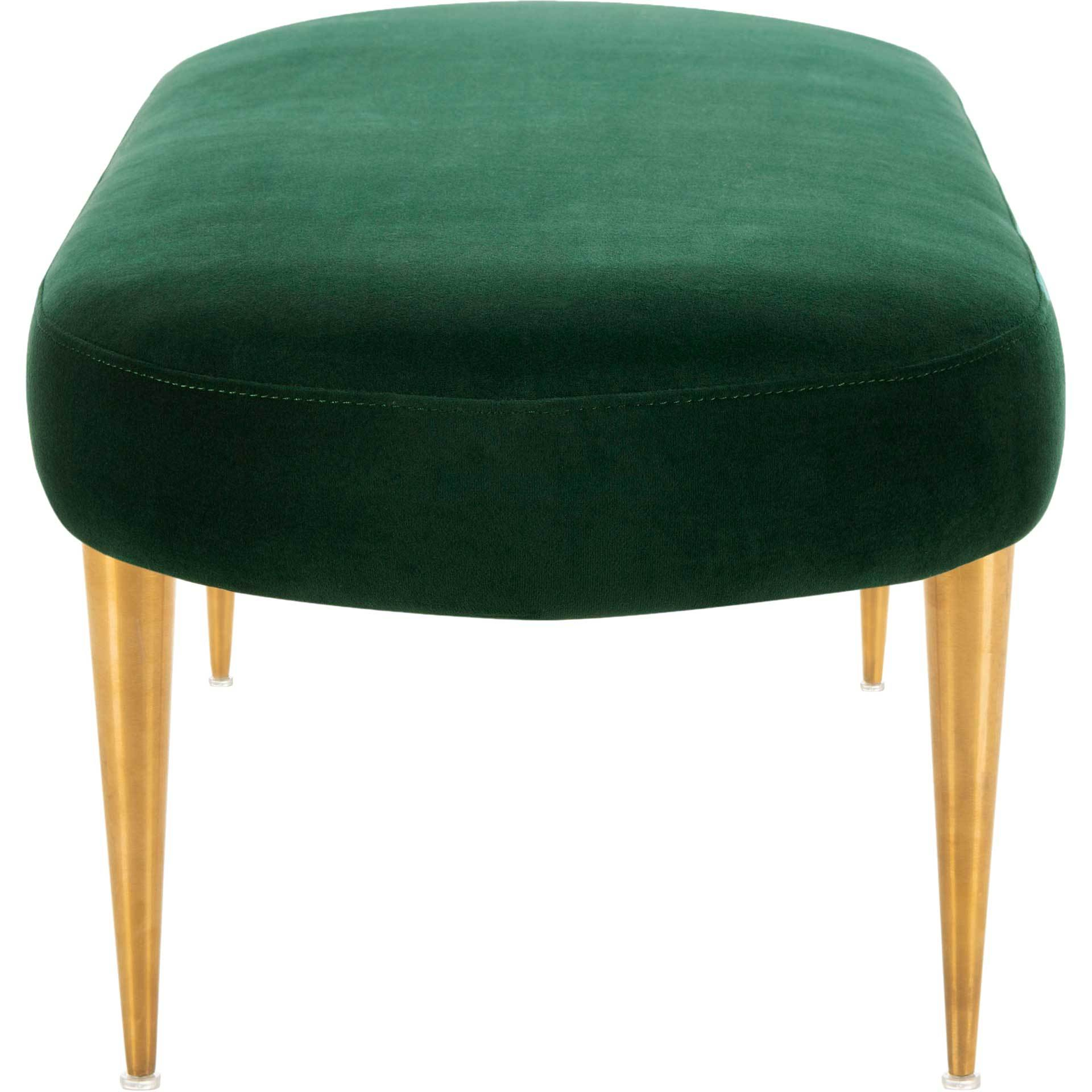 Colette Velvet Oval Bench Emerald/Gold