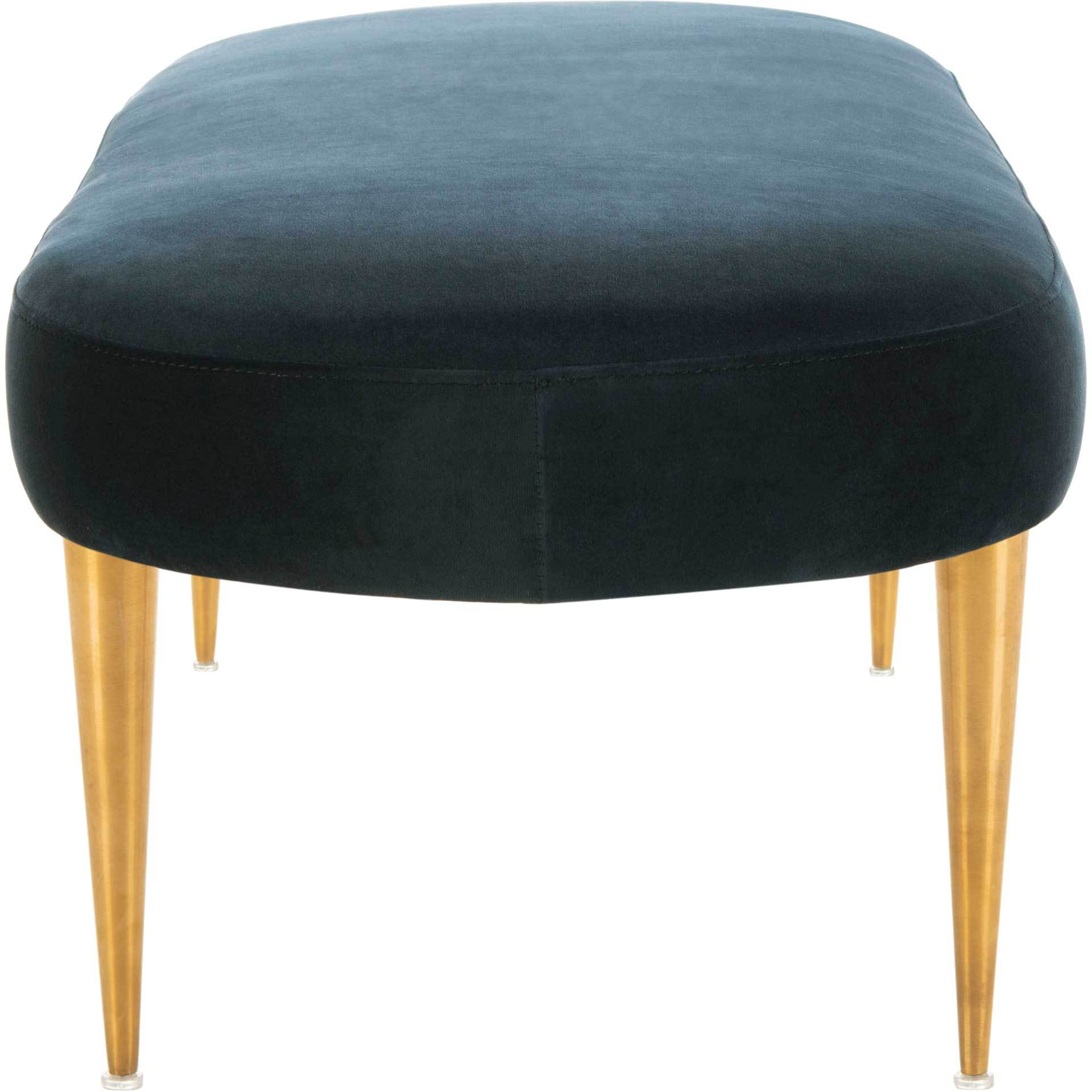 Colette Velvet Oval Bench Navy/Gold