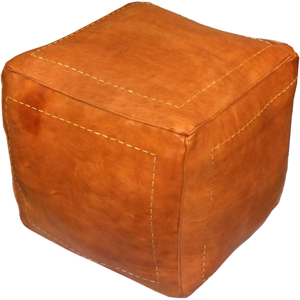 Square Moroccan Pouf Dark Orange
