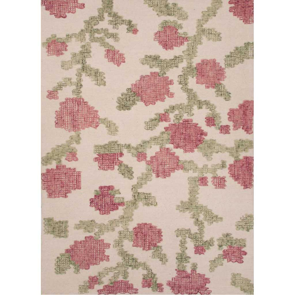Stitched Picked White Asparagus/Aspen Green Area Rug