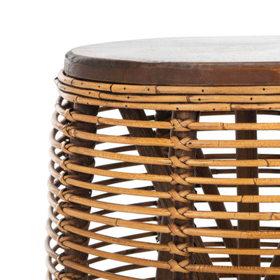 Malakai Rattan Drum Stool Table Honey Brown Wash