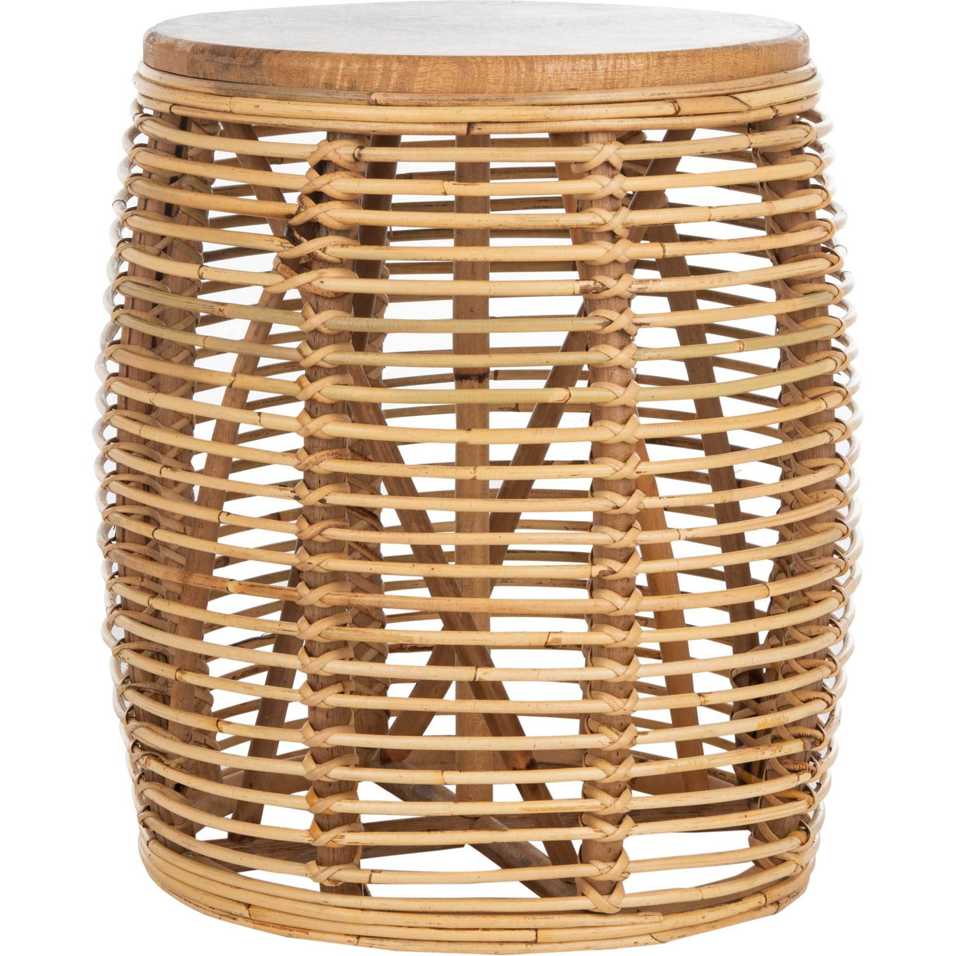 Malakai Rattan Drum Stool Table Natural