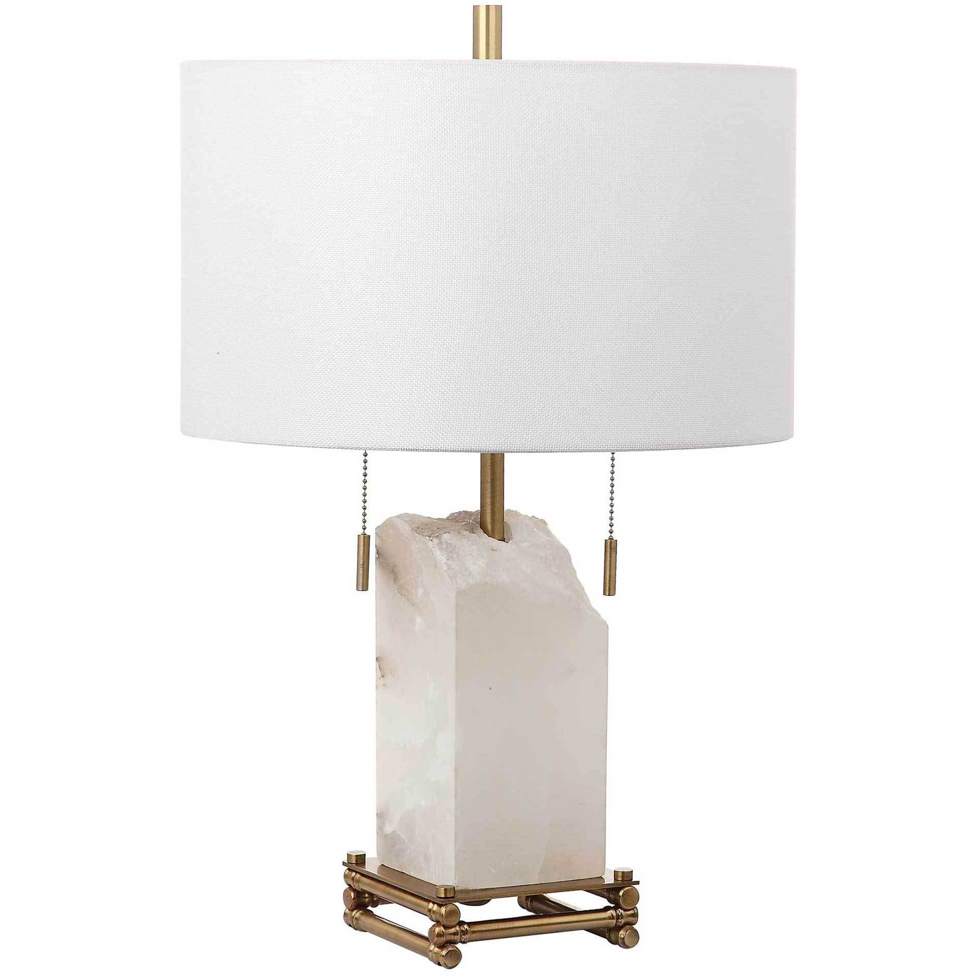 Penny Alabaster Table Lamp White/Gold