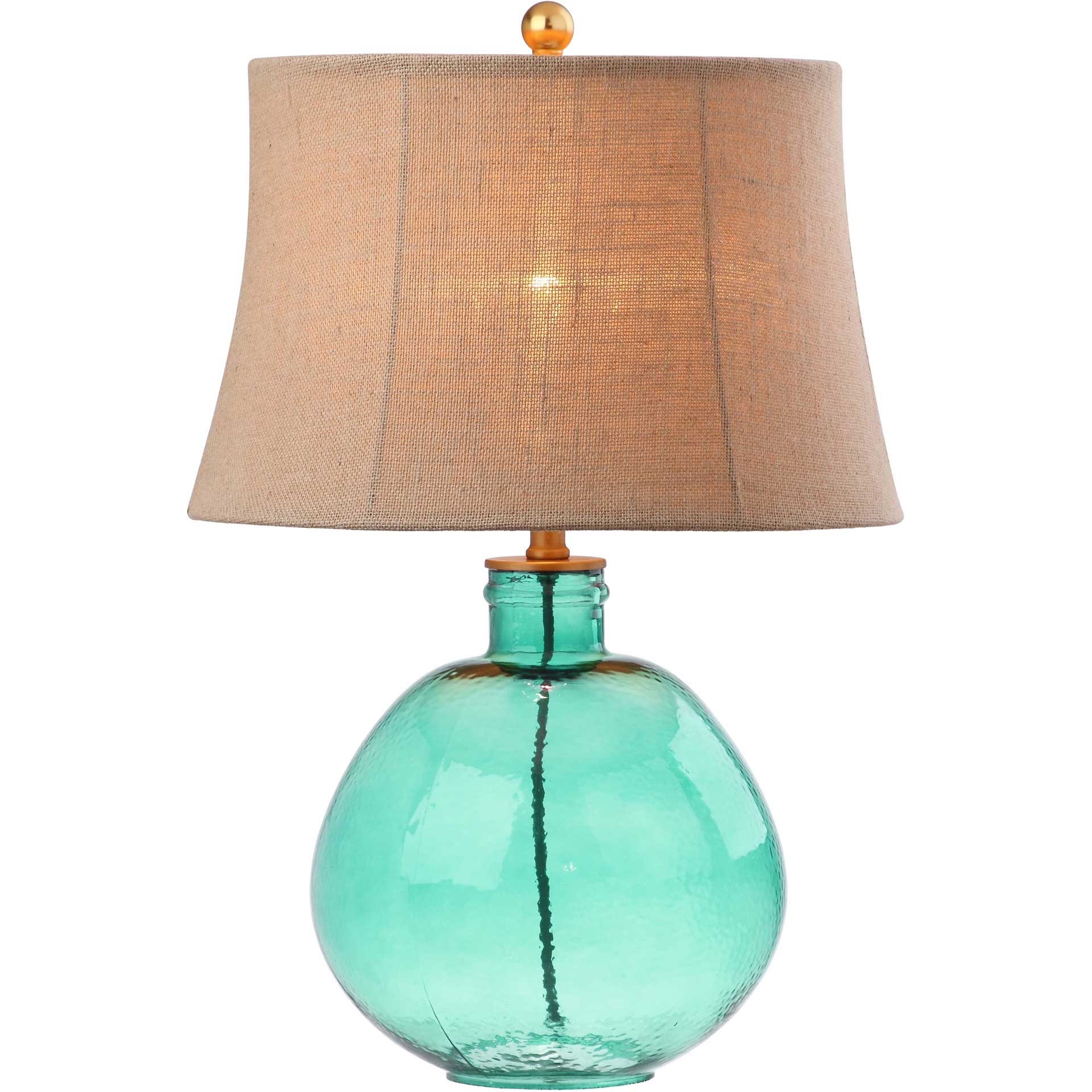 Raven Glass Table Lamp Green