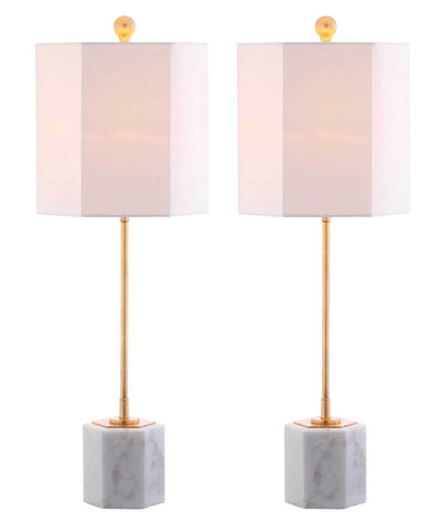 Mack Marble Table Lamp White/Gold Leaf (Set of 2)
