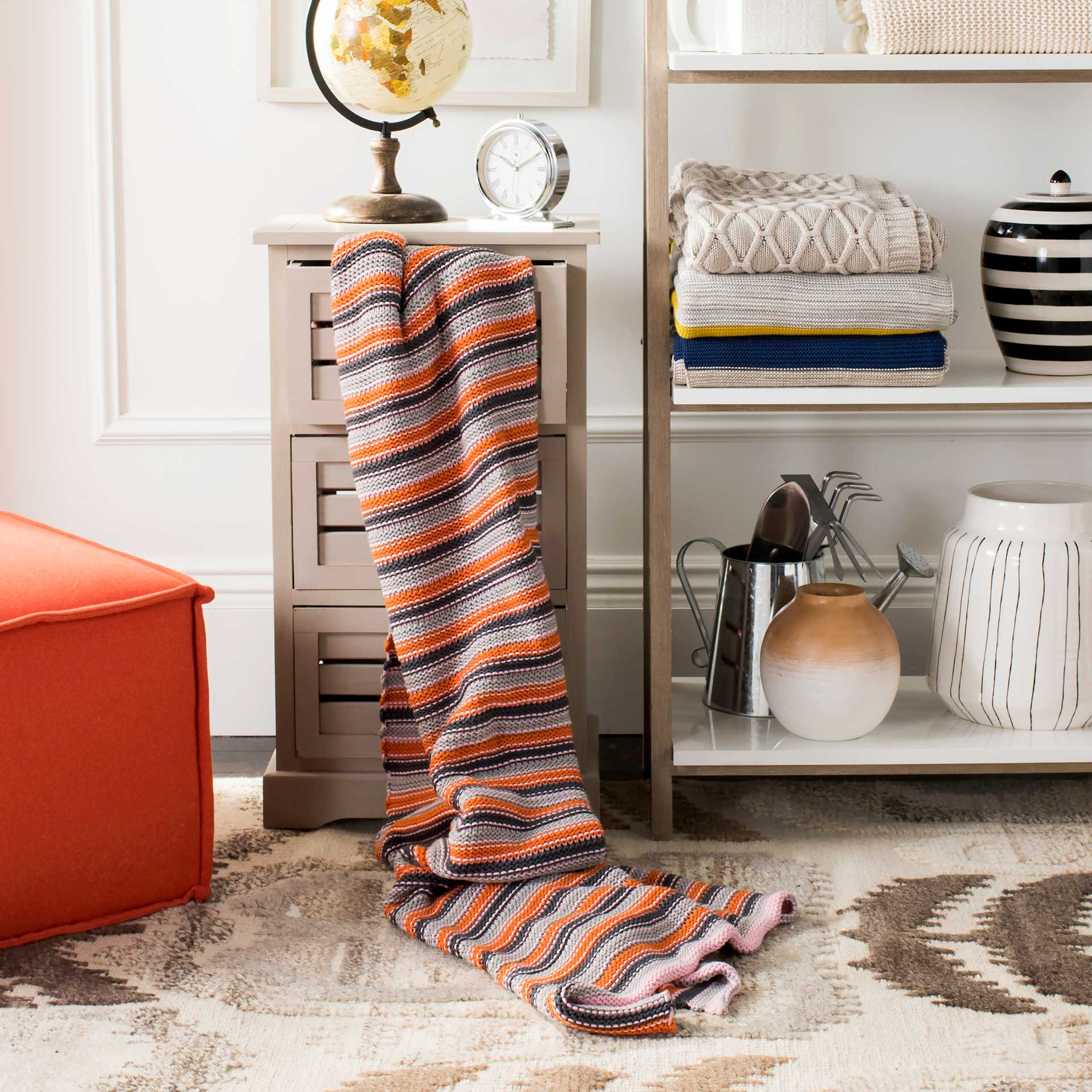 Candy Stripe Knit Throw Orange Combo