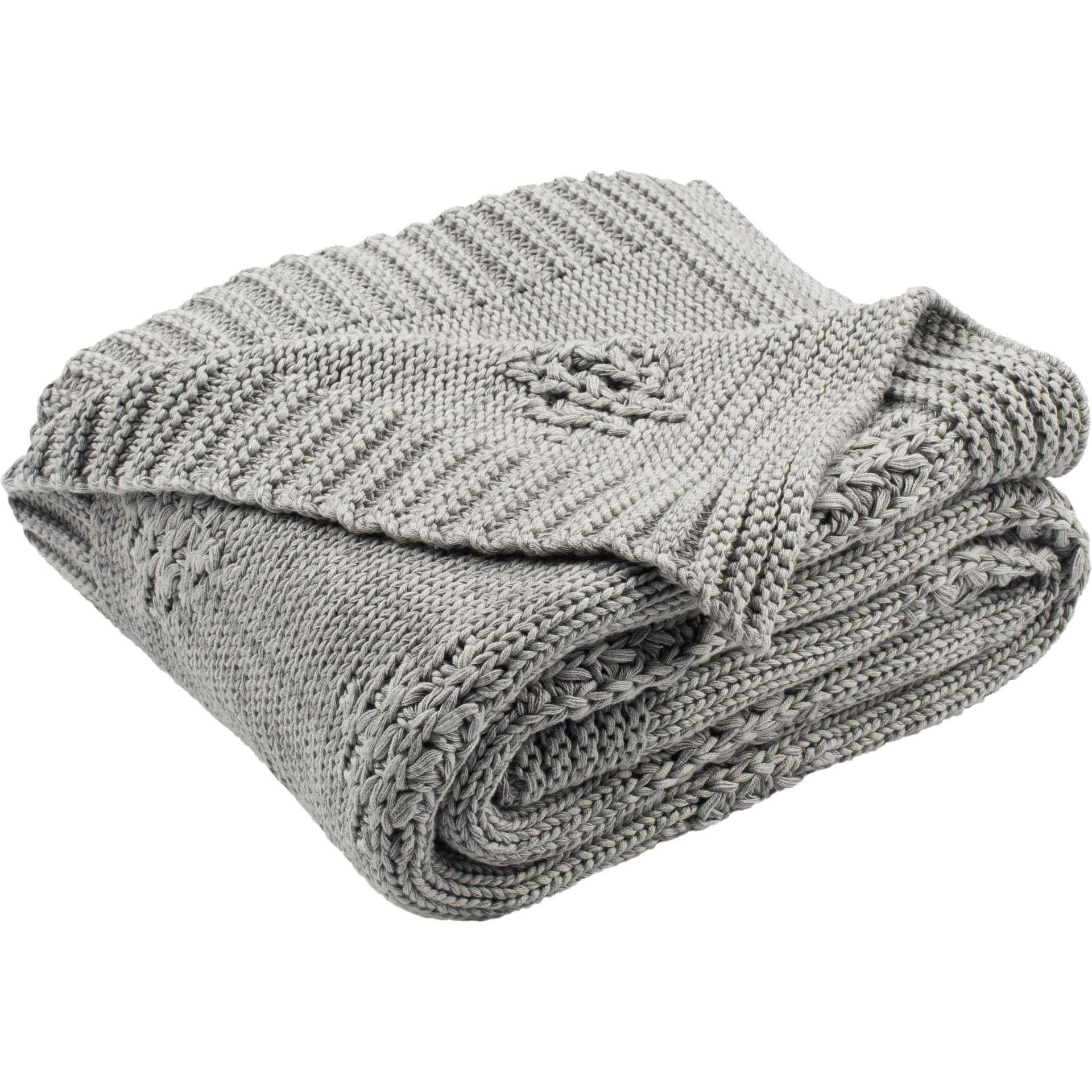 Colin Knit Throw Medium Gray/Light Gray