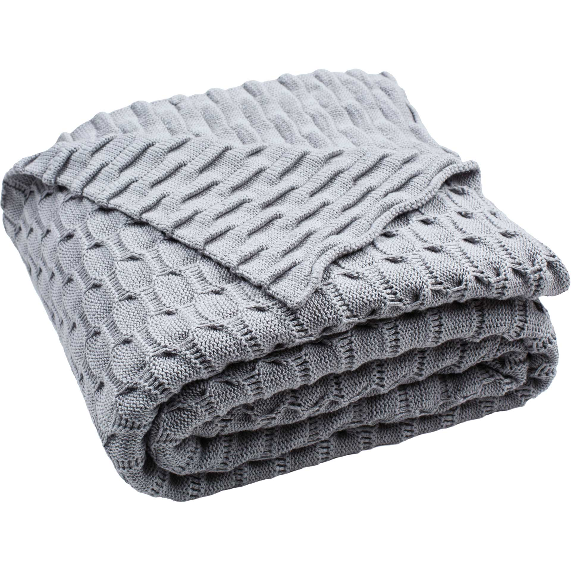 Novara Knit Throw Light Gray
