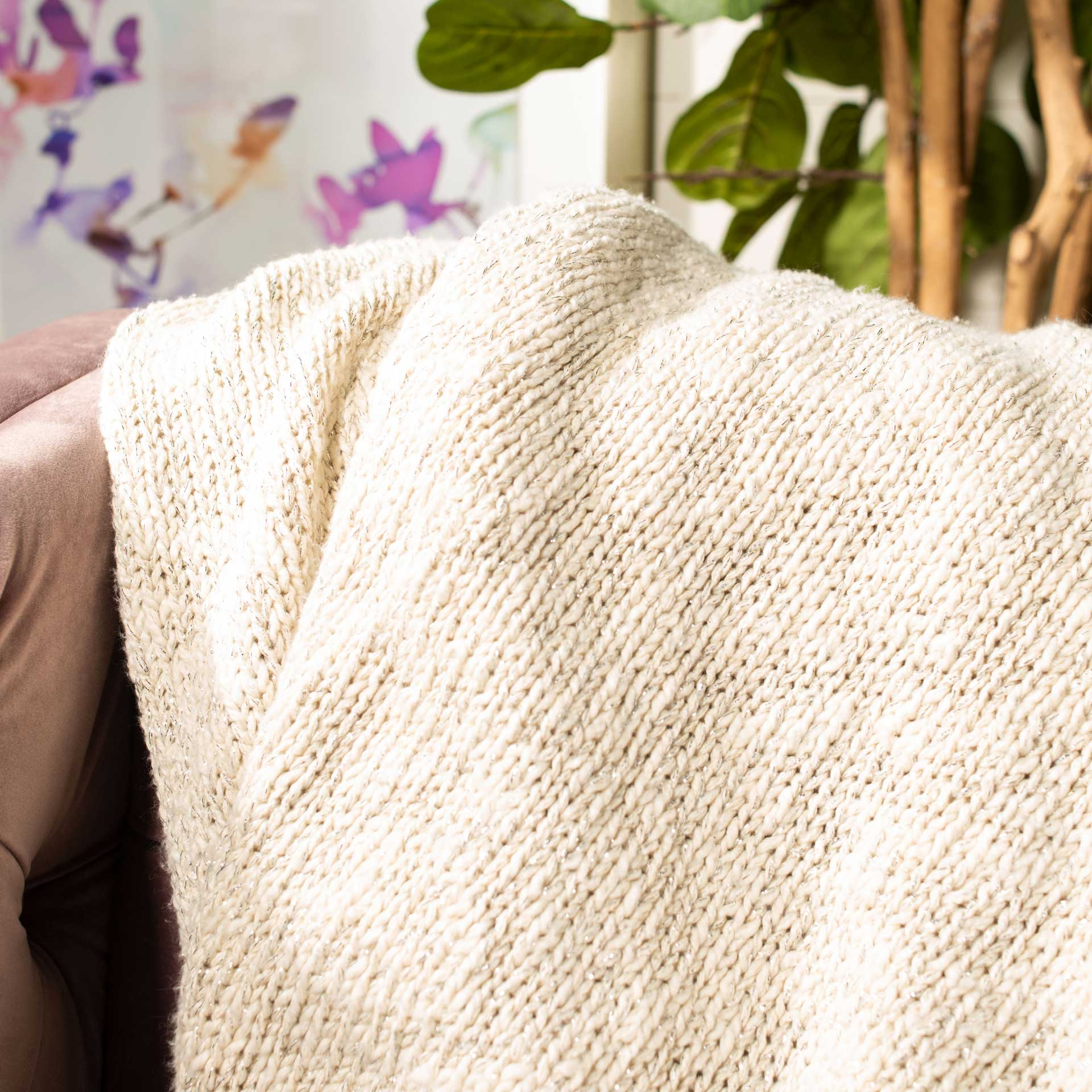Ranger Knit Throw Natural/Silver