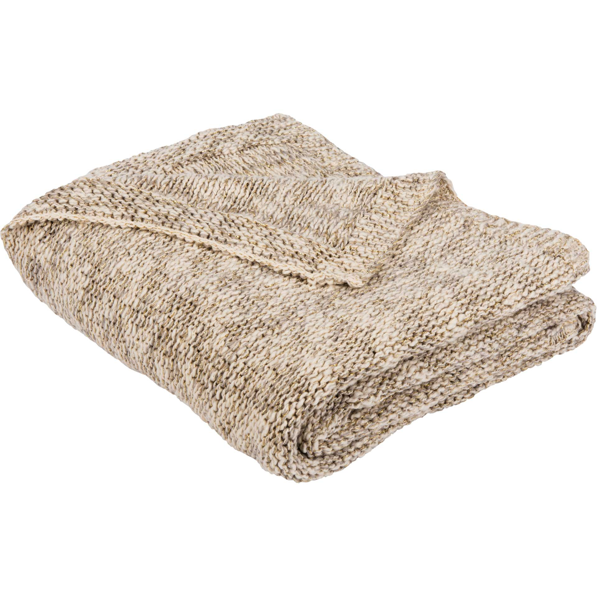 Ranger Knit Throw Light Gray/Natural/Gold