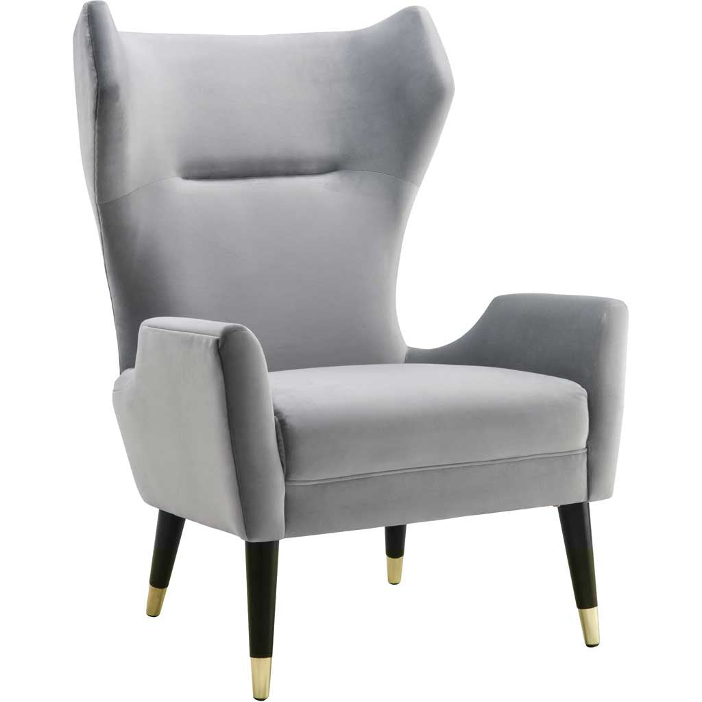 Lunel Gray Velvet Chair