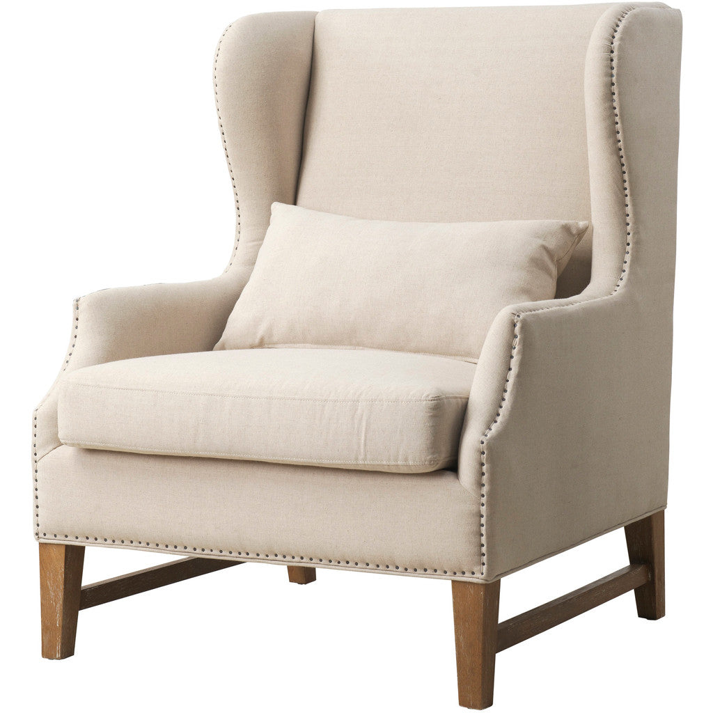 Desai Beige Linen Wing Chair