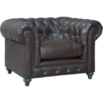 Duval Antique Brown Leather Club Chair