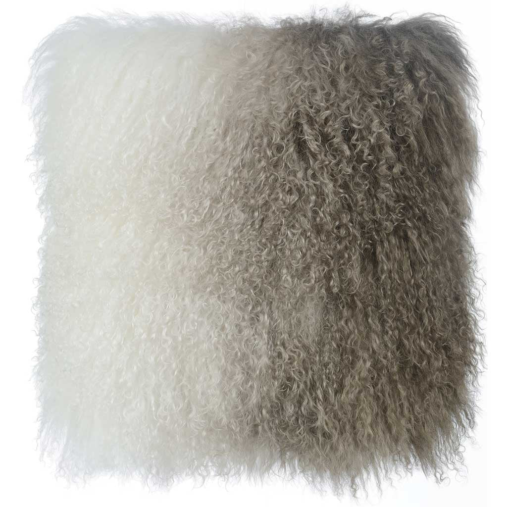 Tibetan Sheep Pillow White/Brown