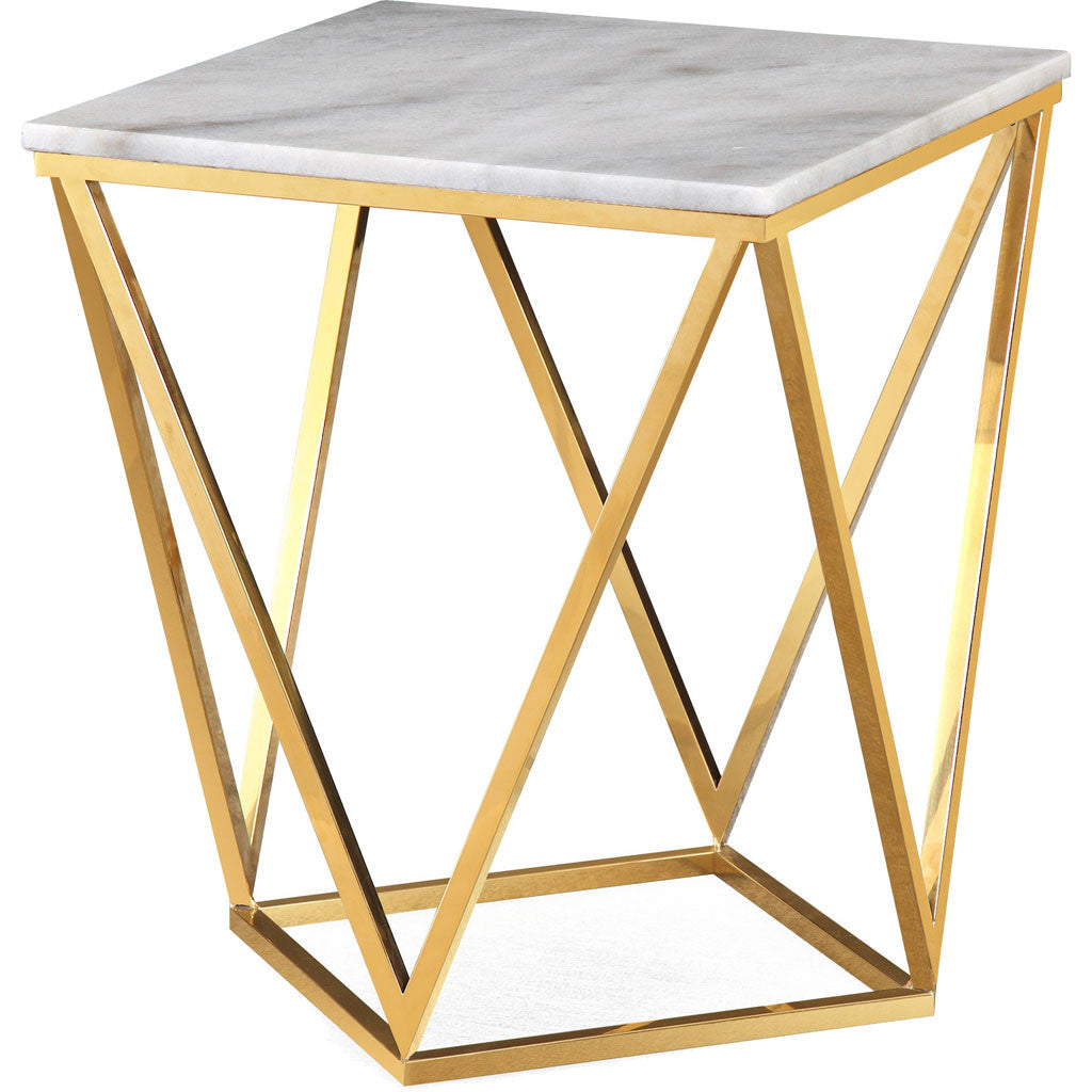 Leo White Marble Side Table