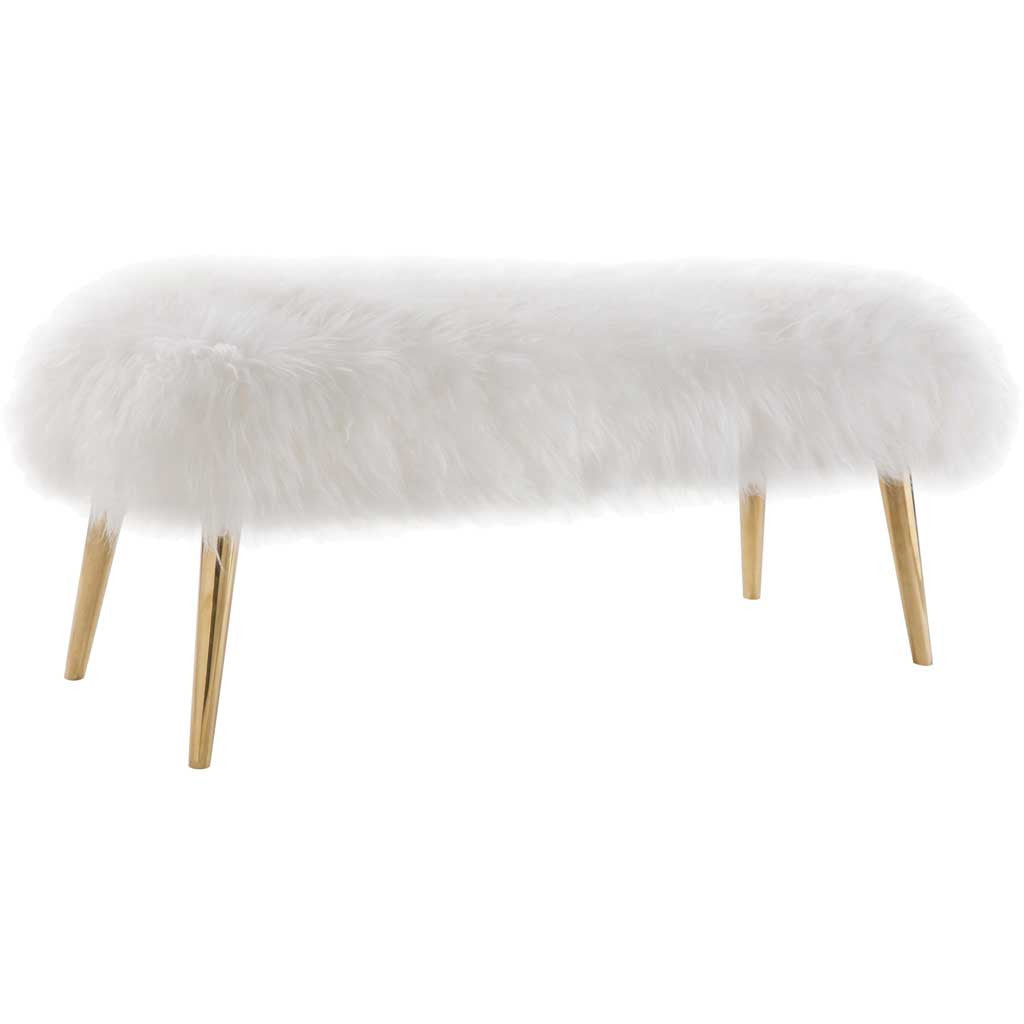 Chatou White Sheepskin Bench