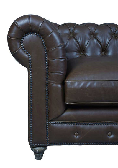 Duval Antique Brown Leather Sofa