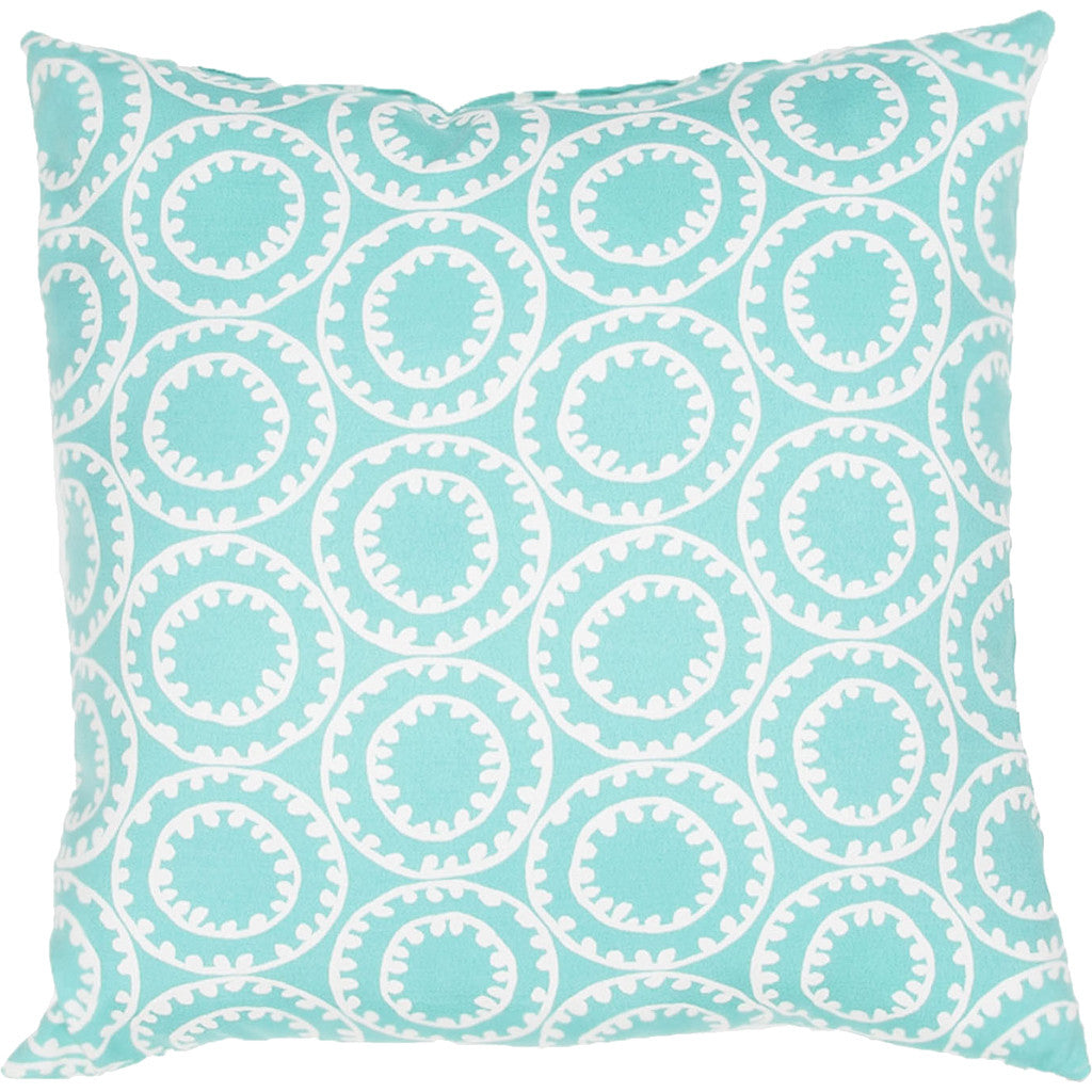 Veranda Odl Ring A Bell Turquoise/Cloud Dancer Pillow