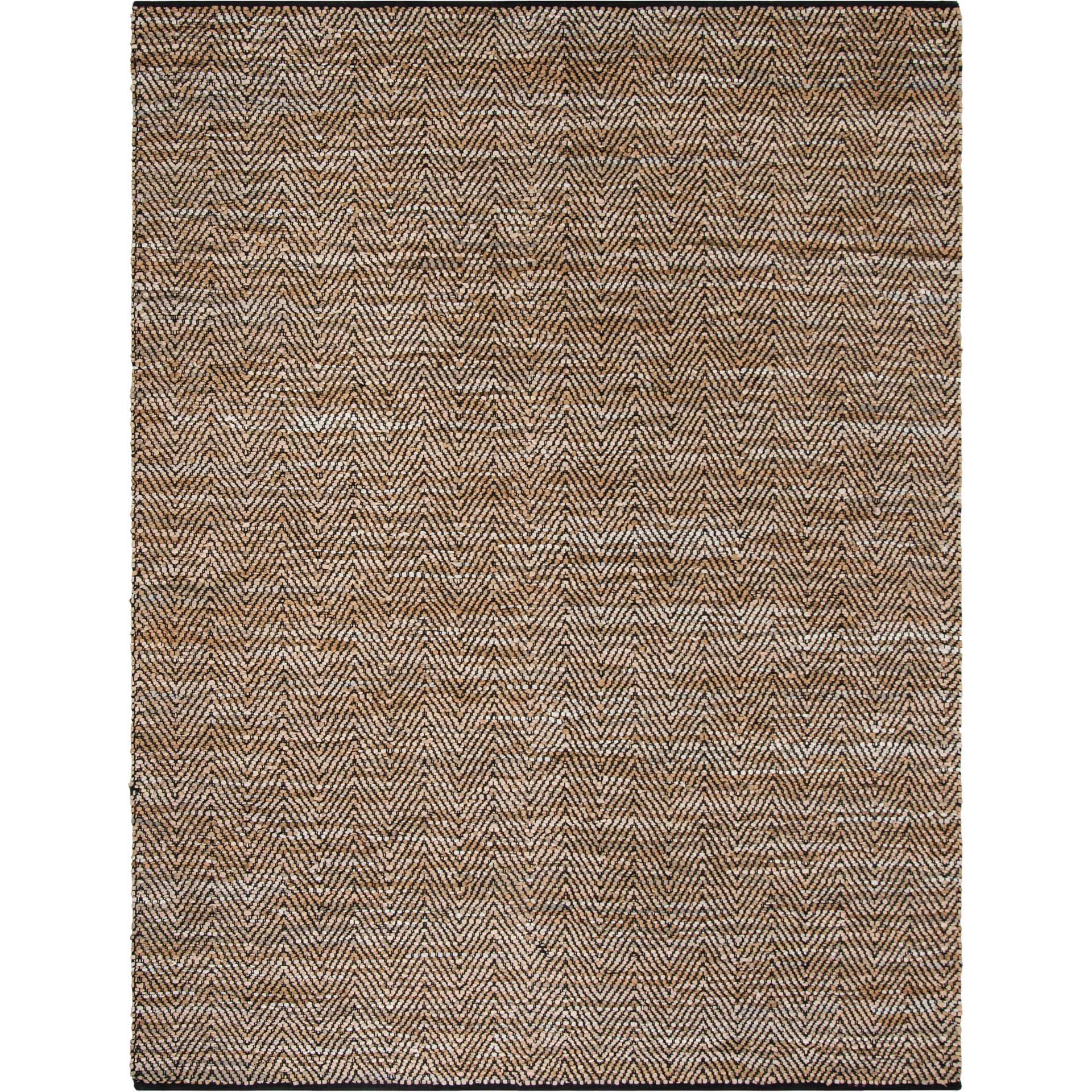 Vintage Leather Chevron Beige/Black Area Rug