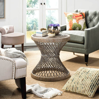 Griffin Bowed Accent Table Gray White Wash