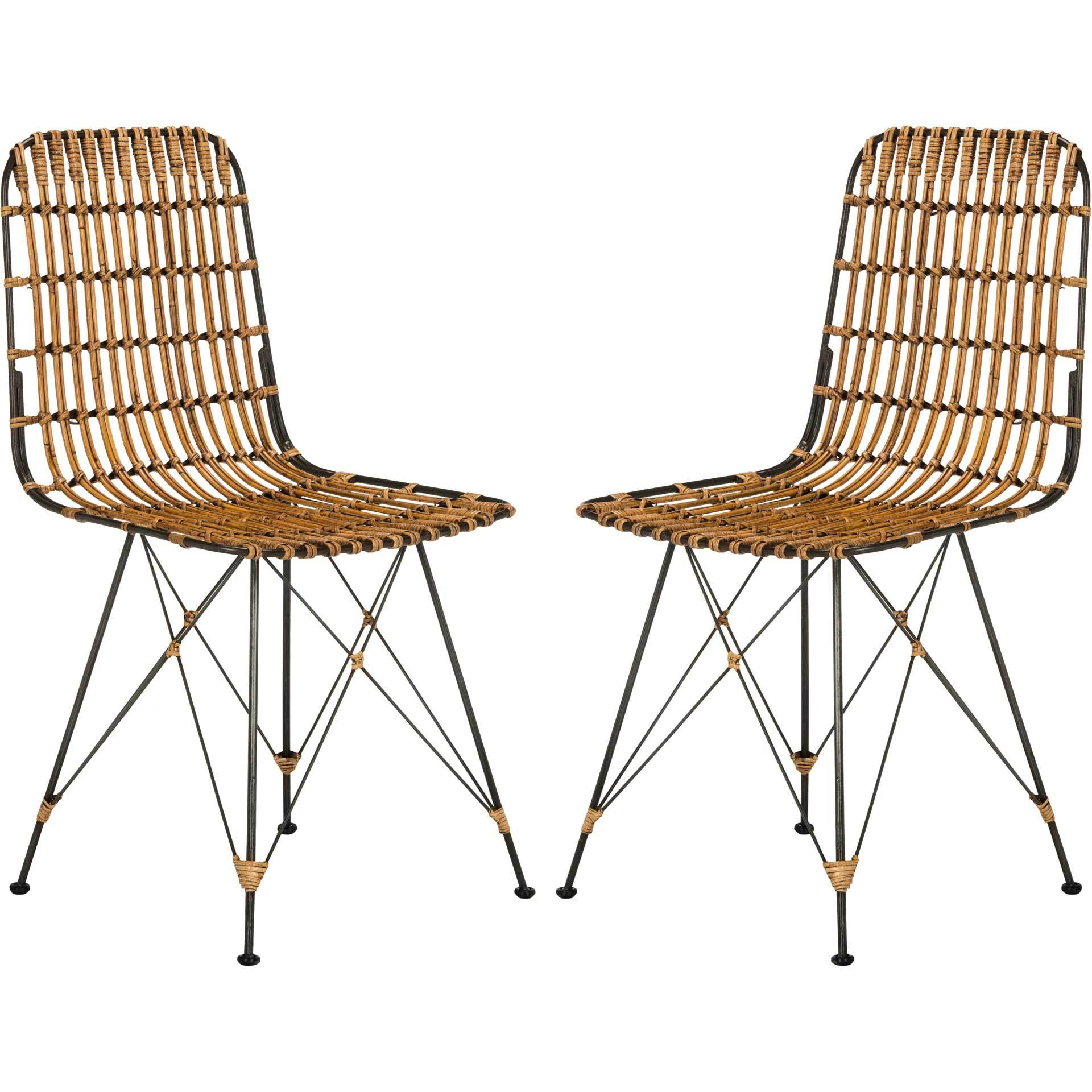 Millie Wicker Dining Chair Natural Brown Wash (Set of 2)