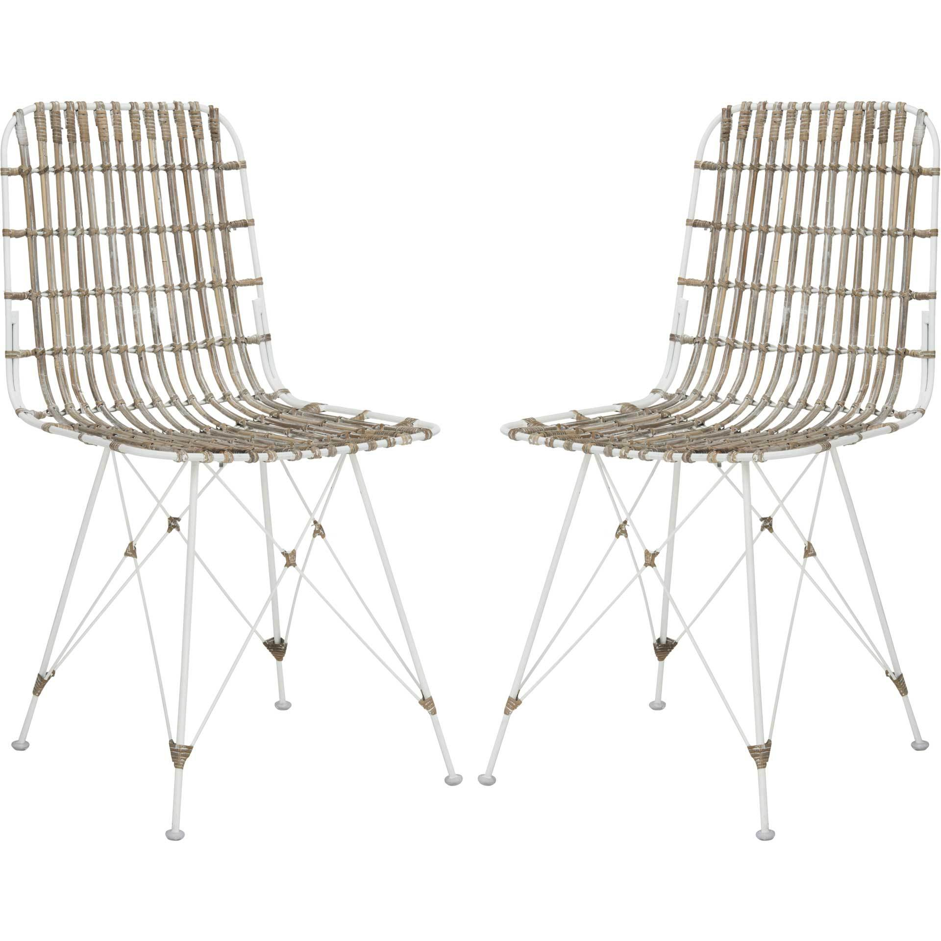 Millie Wicker Dining Chair White Wash (Set of 2)