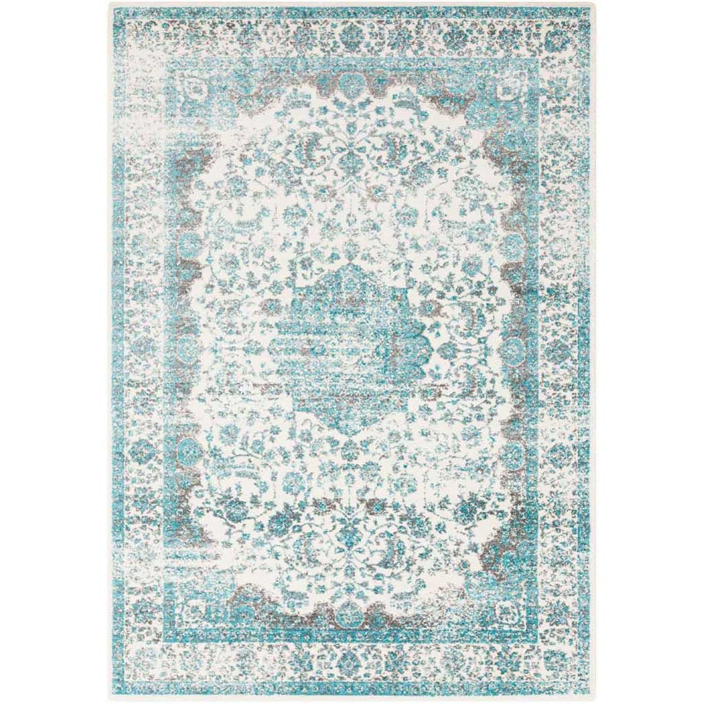 Aberdine Teal/Light Gray Area Rug