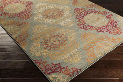 Arabesque Moss/Burgundy Area Rug