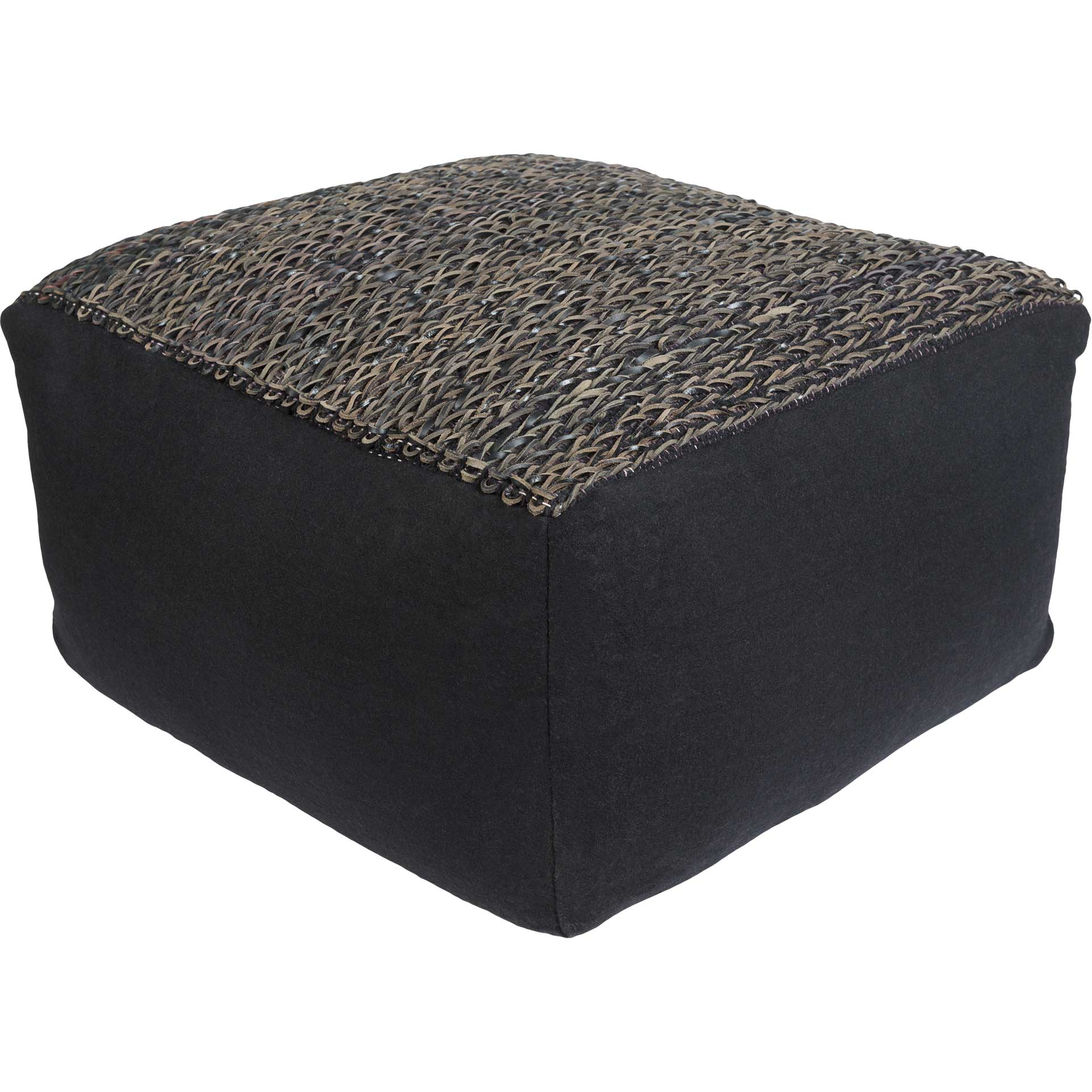Aidan Pouf Black/Dark Brown