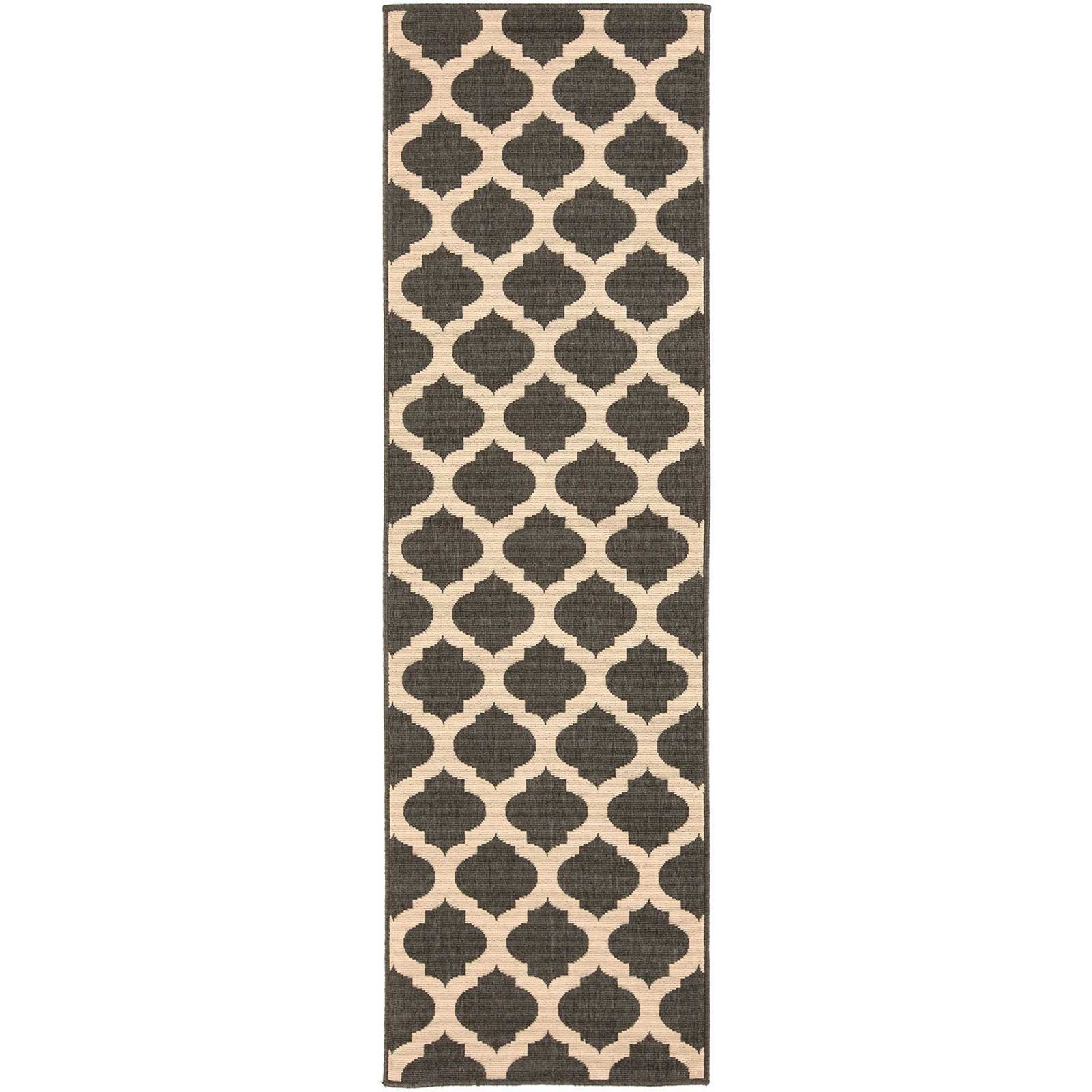 Alfresco Lattice Black/Beige Runner Rug