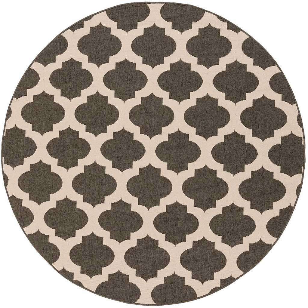 Alfresco Lattice Black/Beige Round Rug