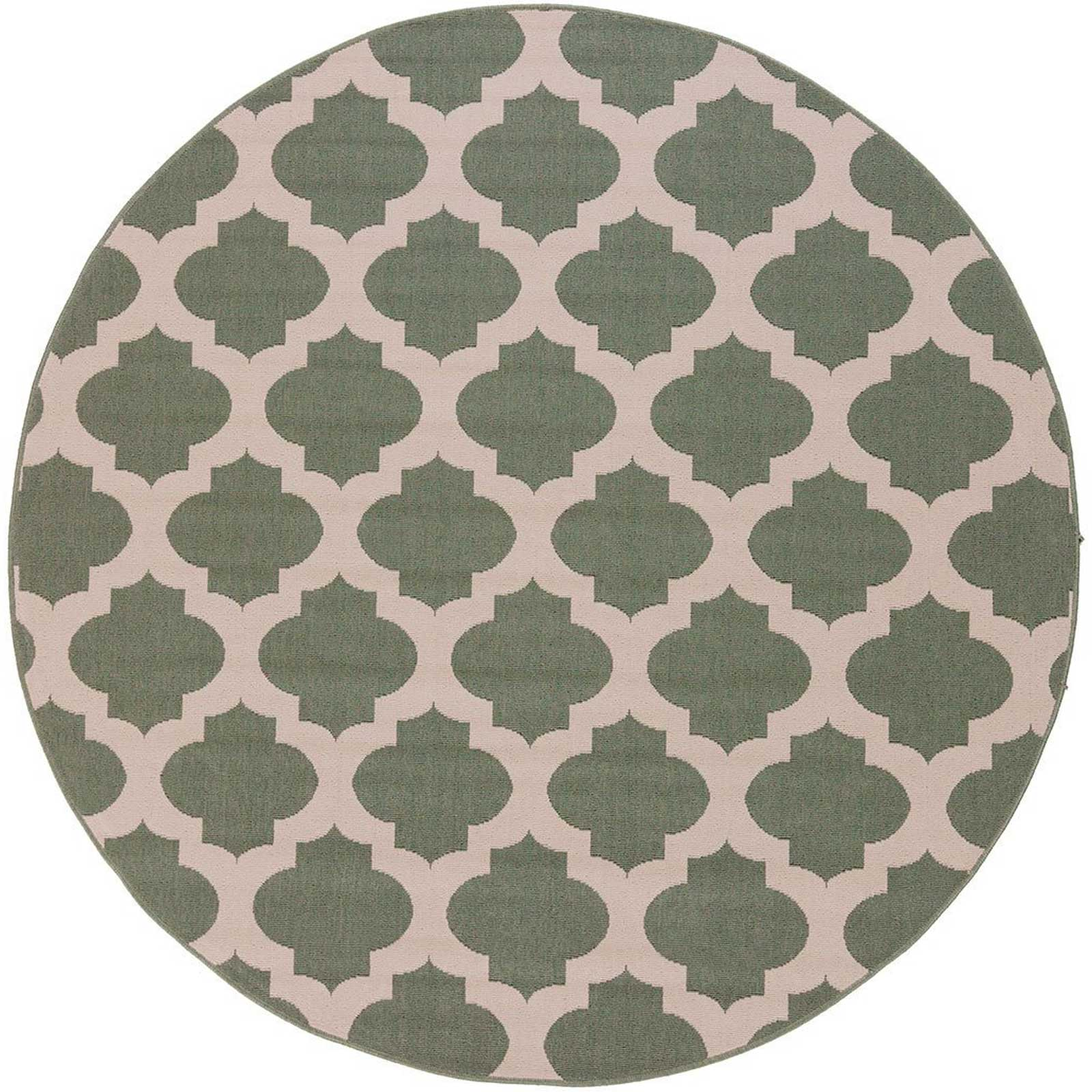 Alfresco Lattice Moss/Beige Round Rug