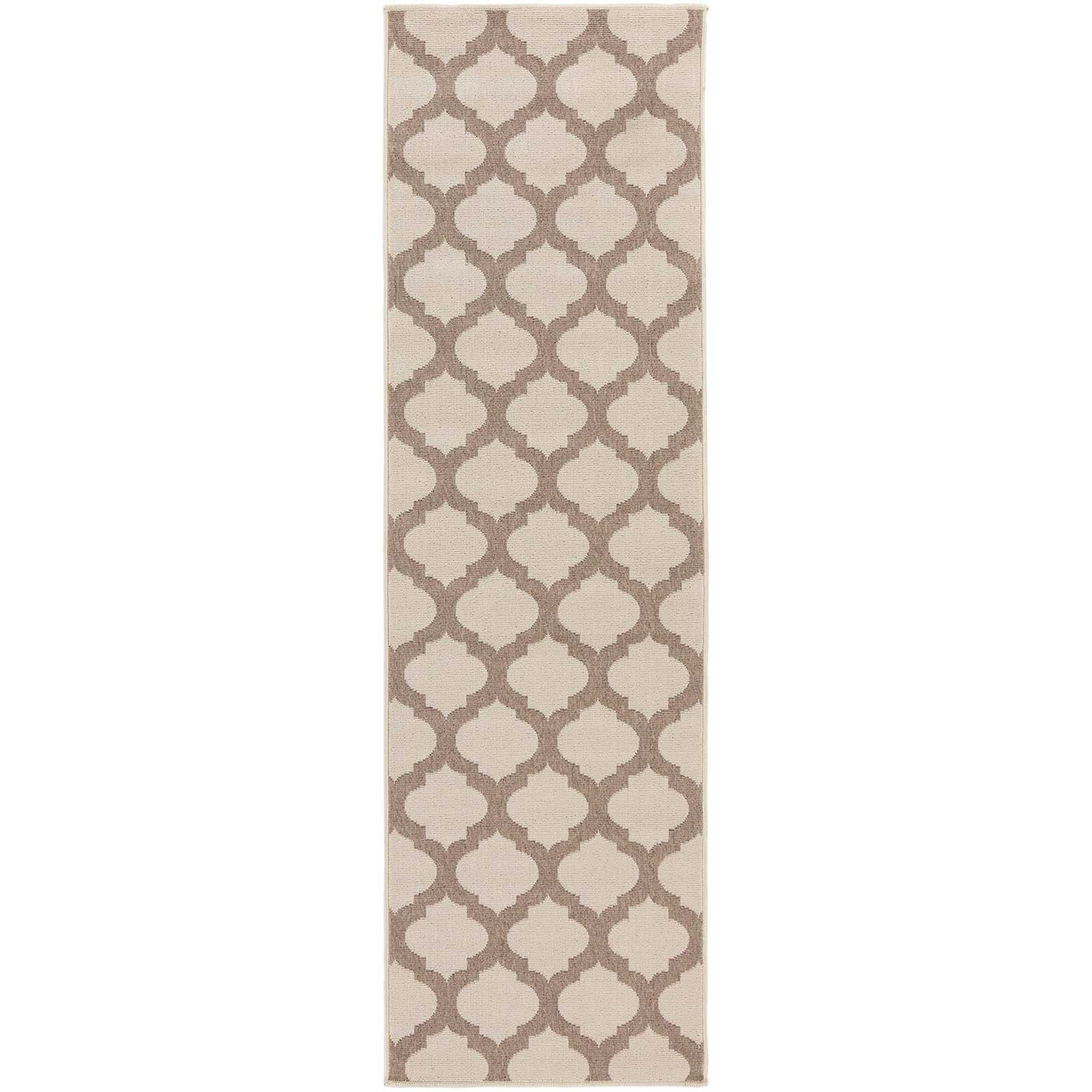 Alfresco Lattice Beige/Taupe Runner Rug