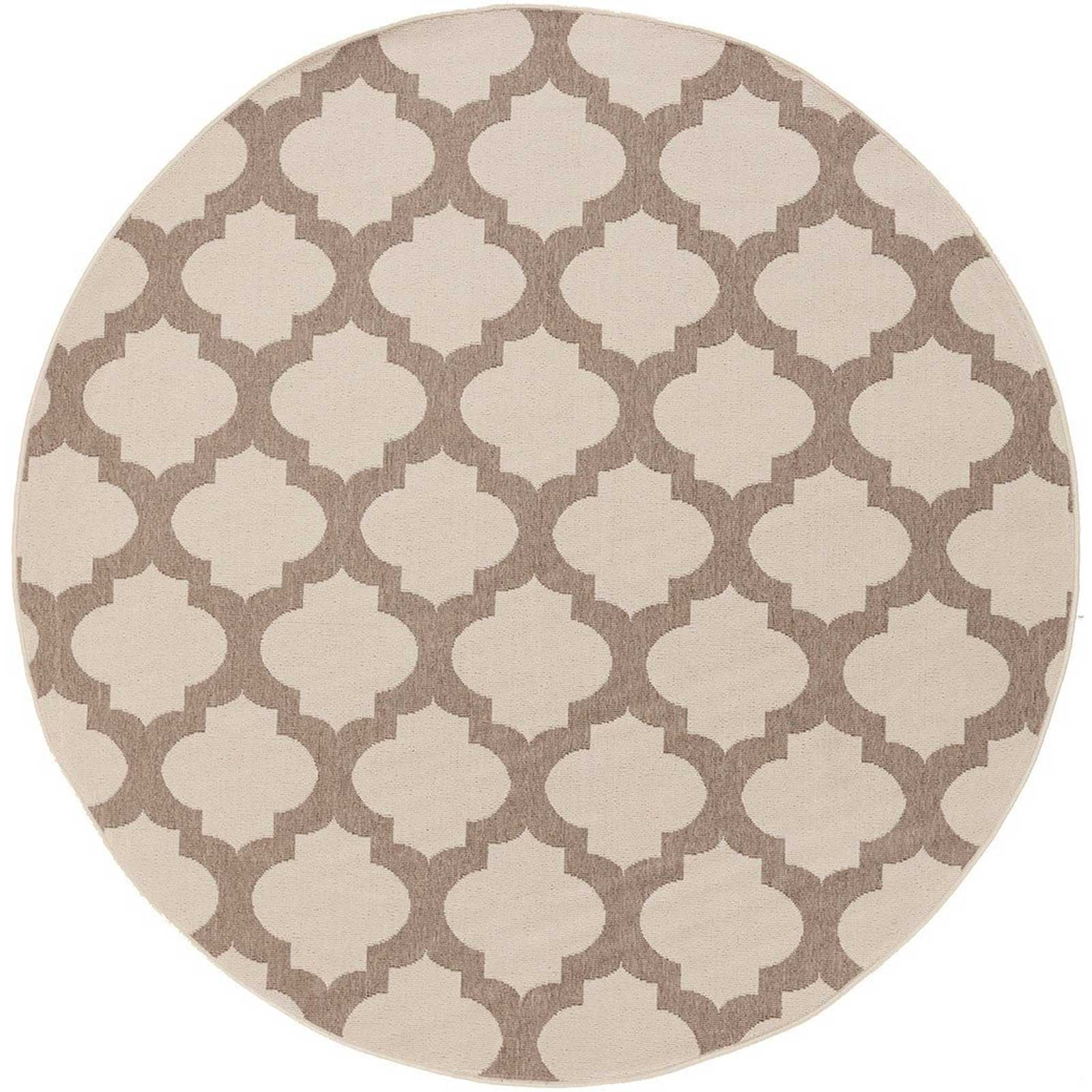 Alfresco Lattice Beige/Taupe Round Rug
