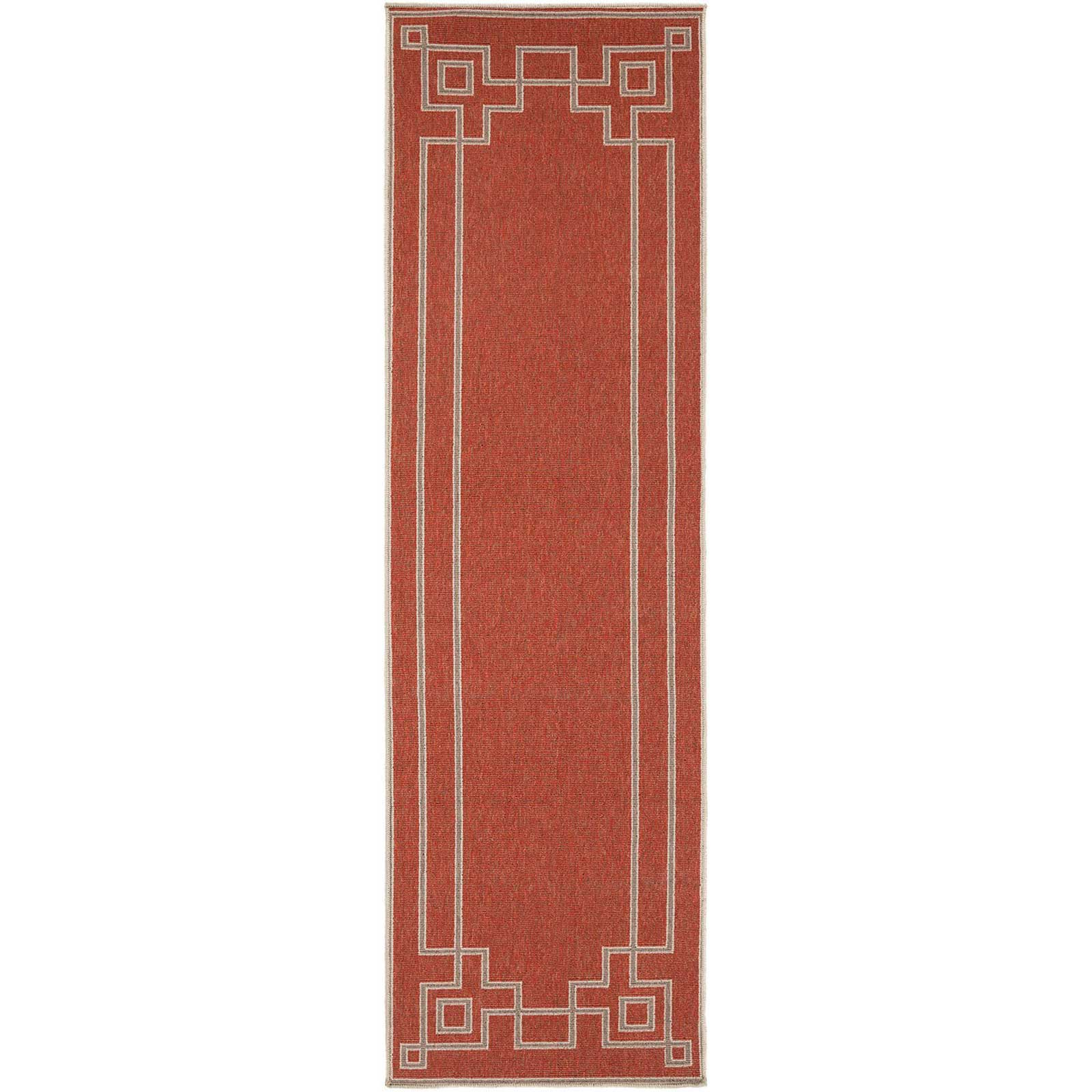 Alfresco Cherry/Taupe Runner Rug