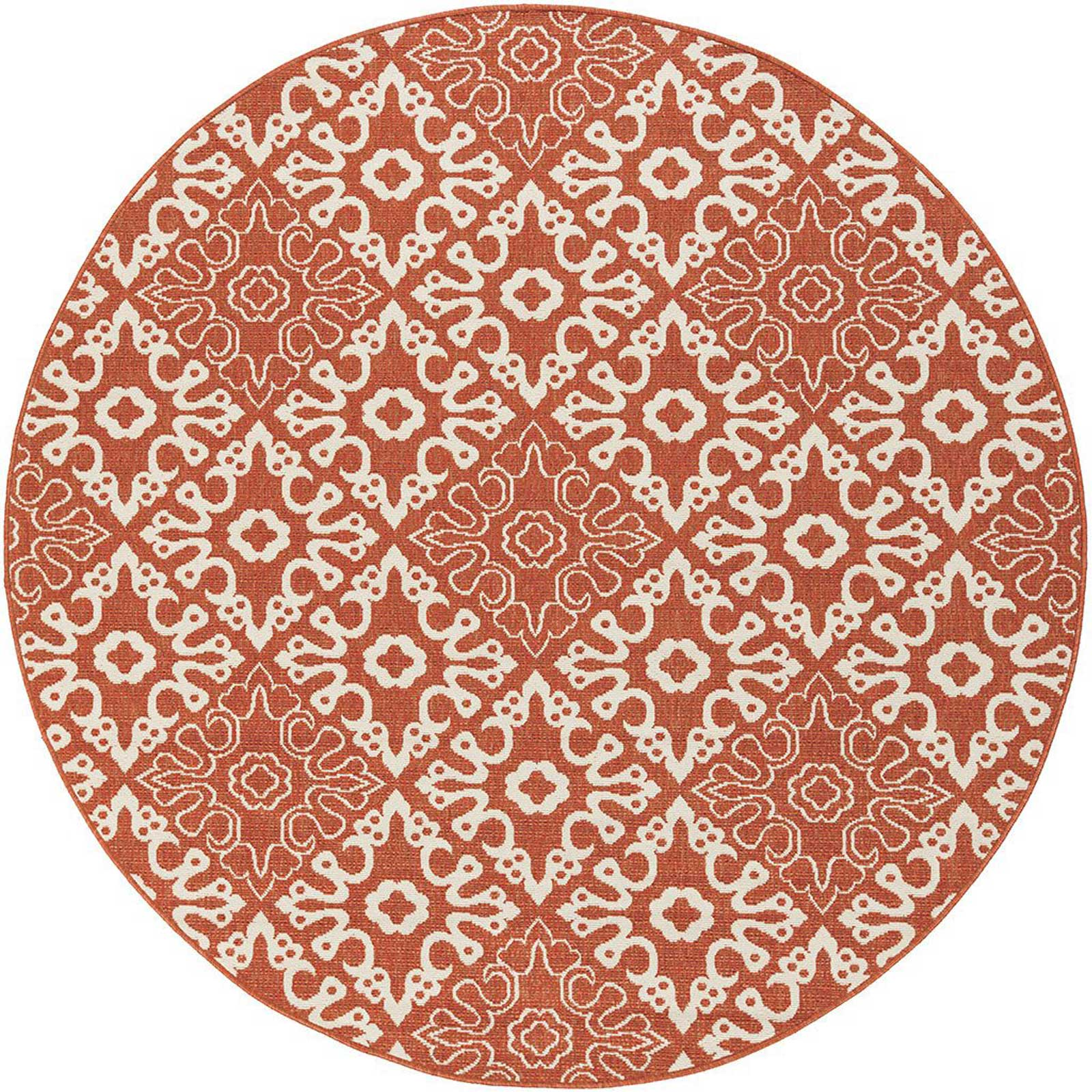 Alfresco Cherry/Beige Round Rug