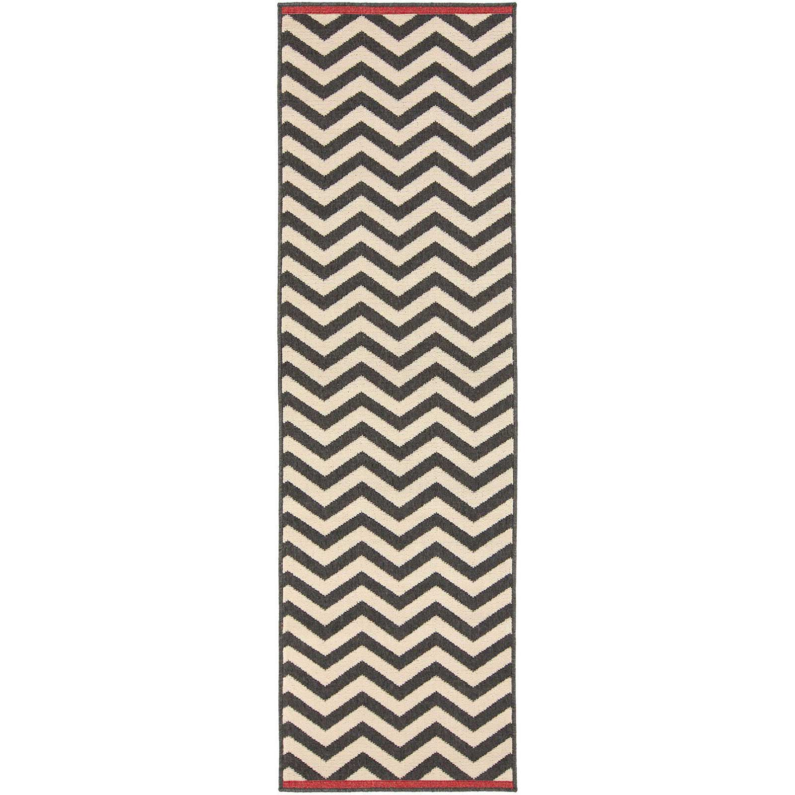 Alfresco Black/Beige Runner Rug