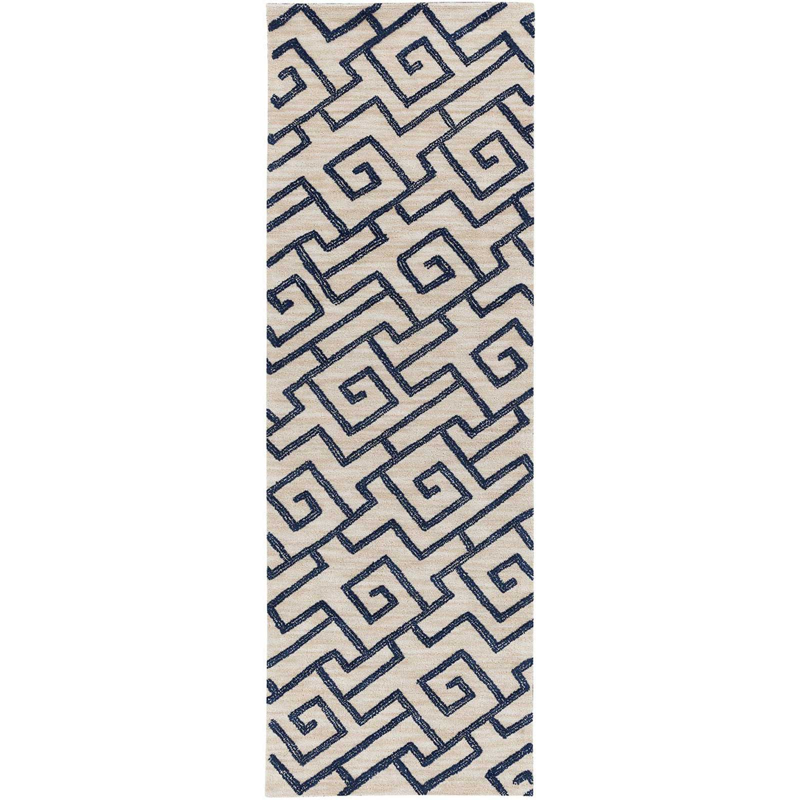 Ameila Light Gray/Navy Runner Rug