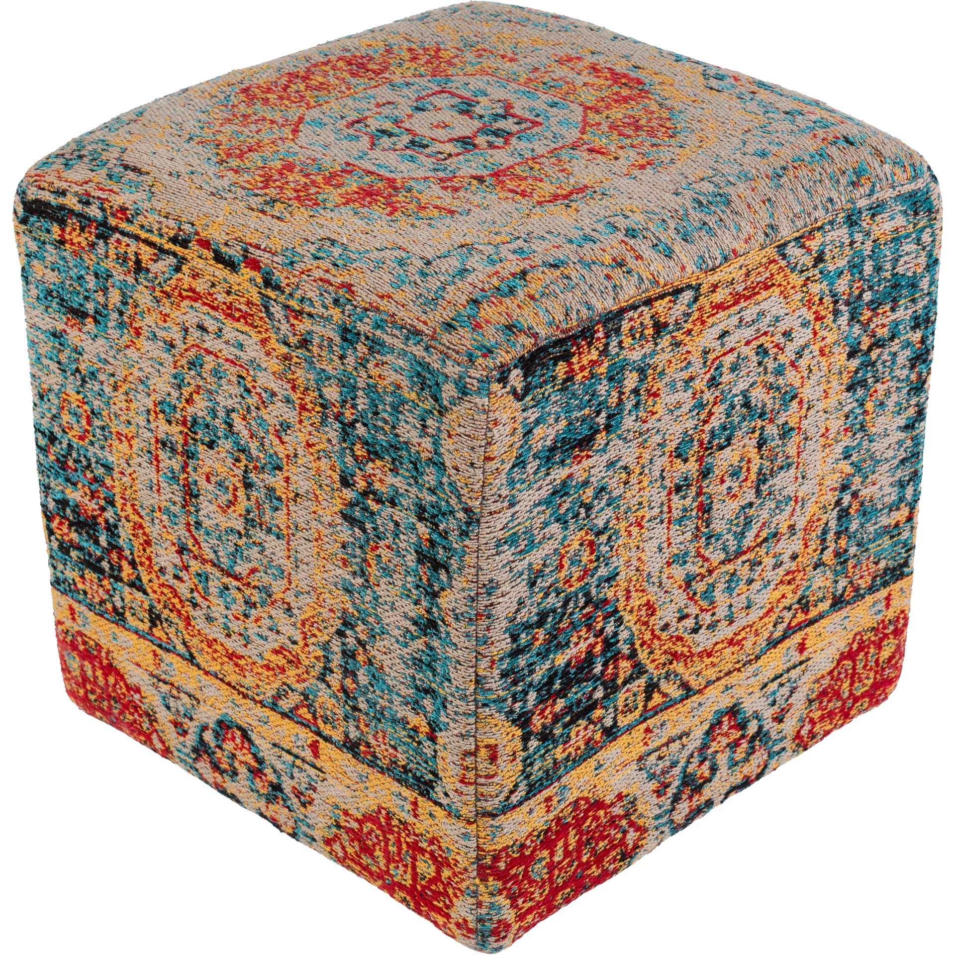 Amina Pouf Bright Blue/Saffron/Bright Red