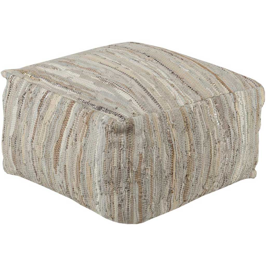 Anthracite Striped Ivory/Beige Cube Pouf