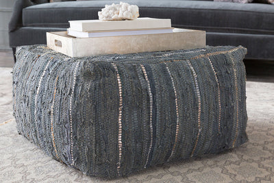 Anthracite Striped Ivory/Sea Foam Cube Pouf