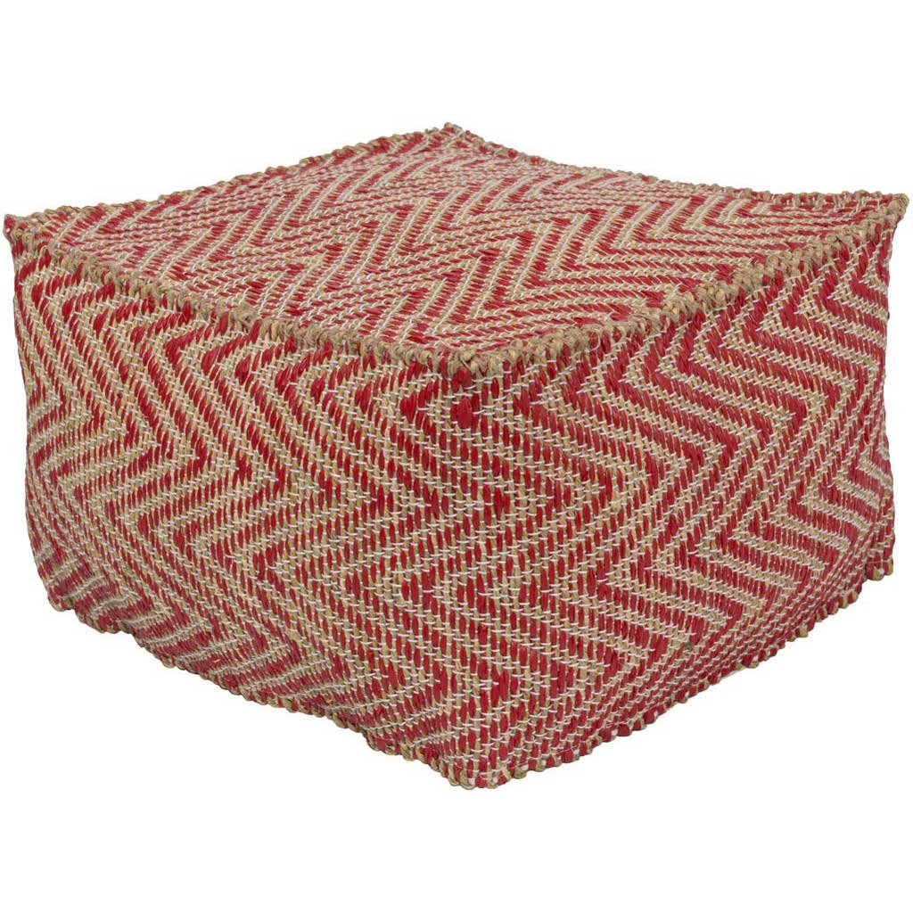 Bodega Cube Bright Red/Khaki Pouf