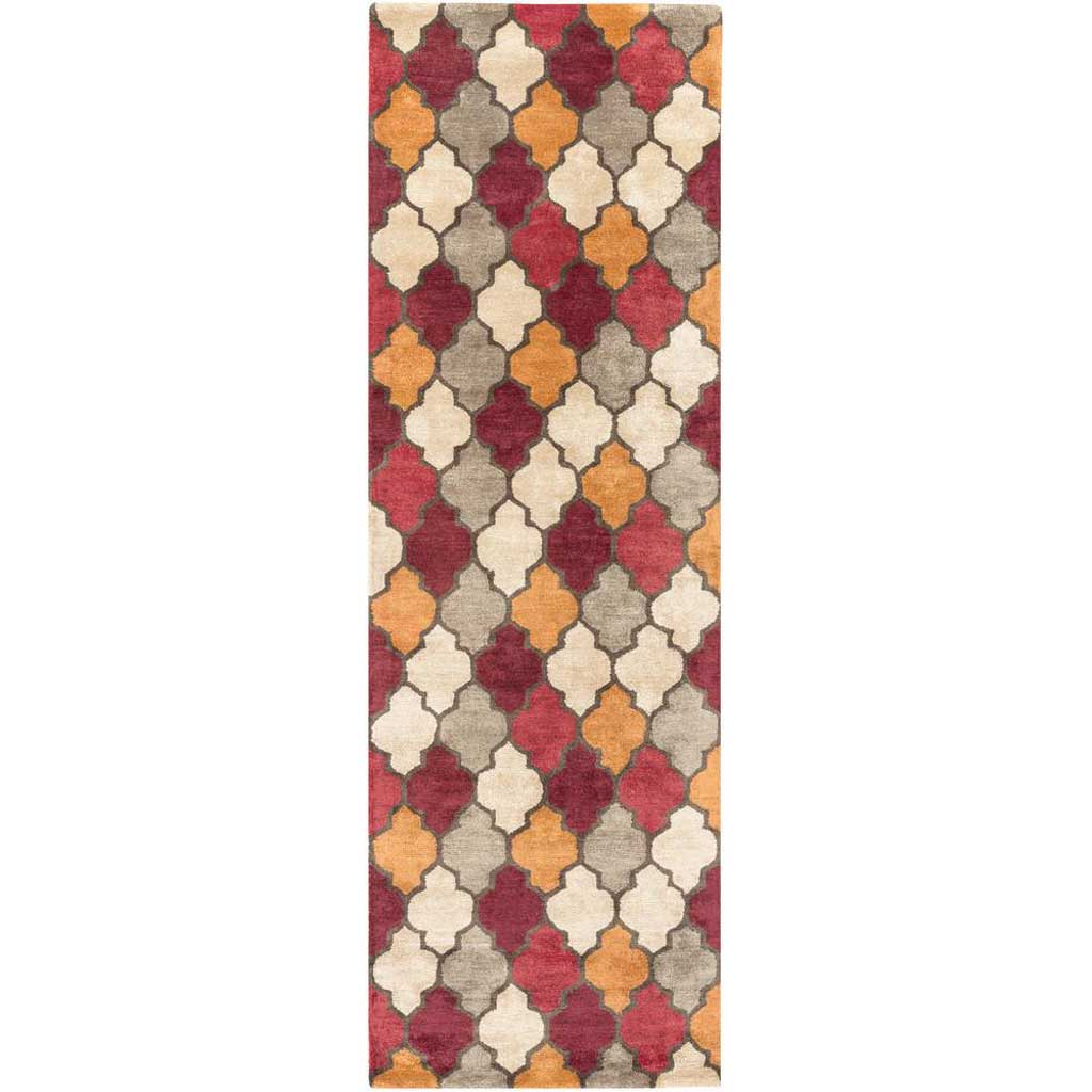Brilliance Cherry/Burgundy/Tan Runner Rug